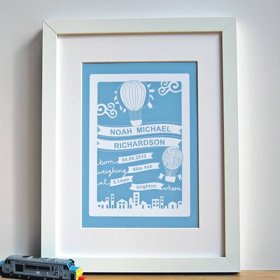 Personalised Baby Wall Art Printant Design Gifts With Latest Personalized Nursery Wall Art (View 10 of 20)