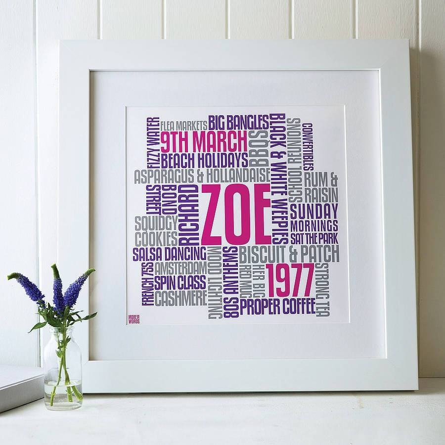 Personalised Birthday Typographic Words Artworkmore Than Words Pertaining To 2018 Typography Canvas Wall Art (View 15 of 20)