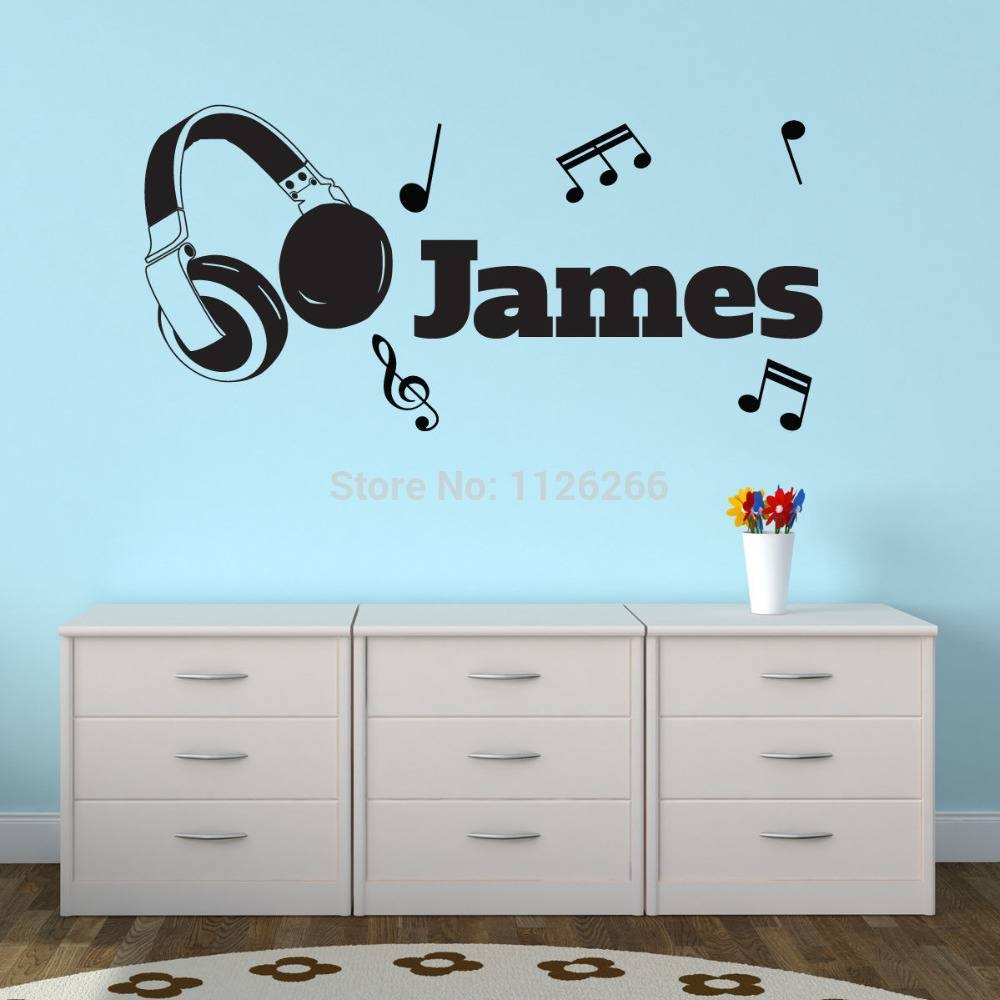 Personalised Customize Any Boys Name Vinyl Wall Sticker Headphones Pertaining To Most Popular Music Note Art For Walls (View 19 of 25)