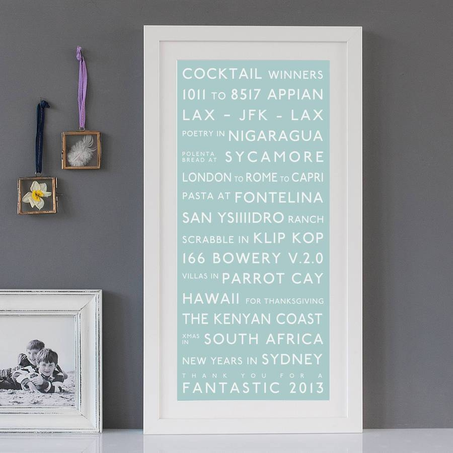 Personalised Destination Printbetsy Benn | Notonthehighstreet For 2017 Duck Egg Blue Wall Art (View 18 of 20)