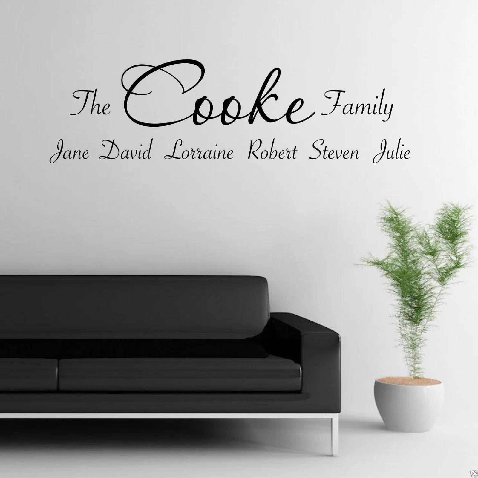 Personalised Family Wall Art Sticker Lounge Quote Decal Transfer Inside Newest Personalized Family Wall Art (View 10 of 20)