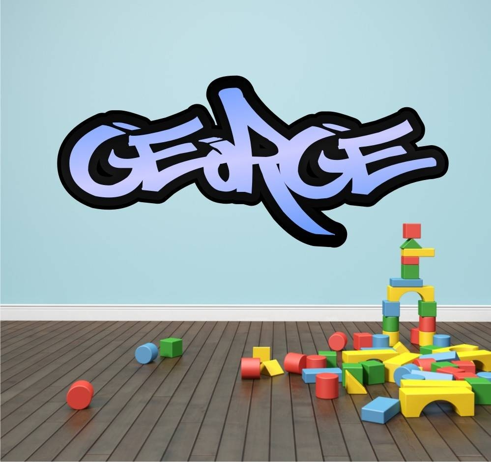Personalised Graffiti Name Wall Sticker Kids Transfer Huge Bedroom Within 2018 Graffiti Wall Art Stickers (View 7 of 30)