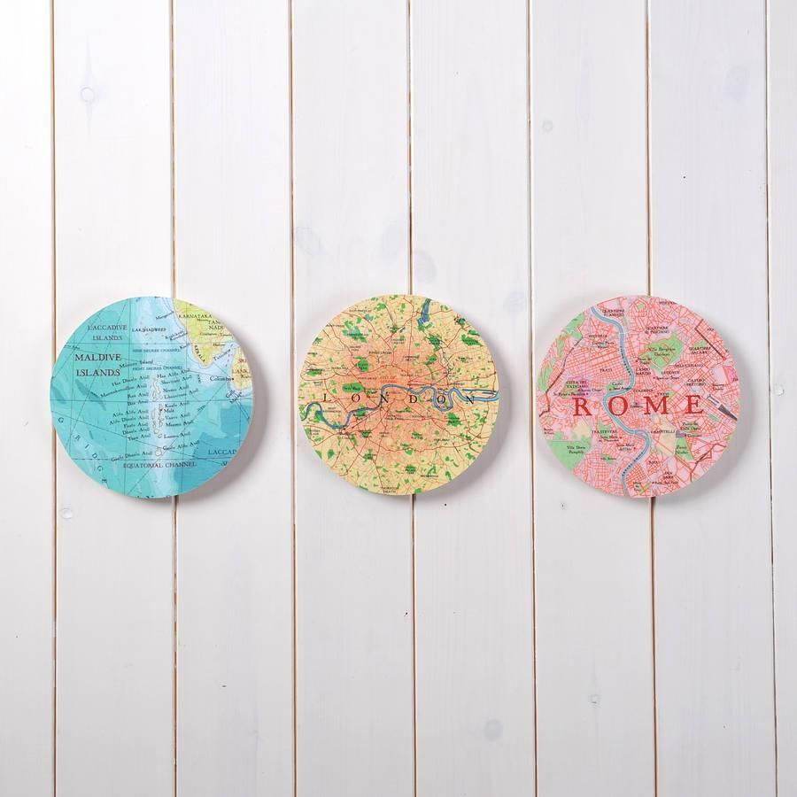 Personalised Map Location 3d Circle Wall Artbombus Inside Most Popular Circles 3d Wall Art (View 16 of 20)