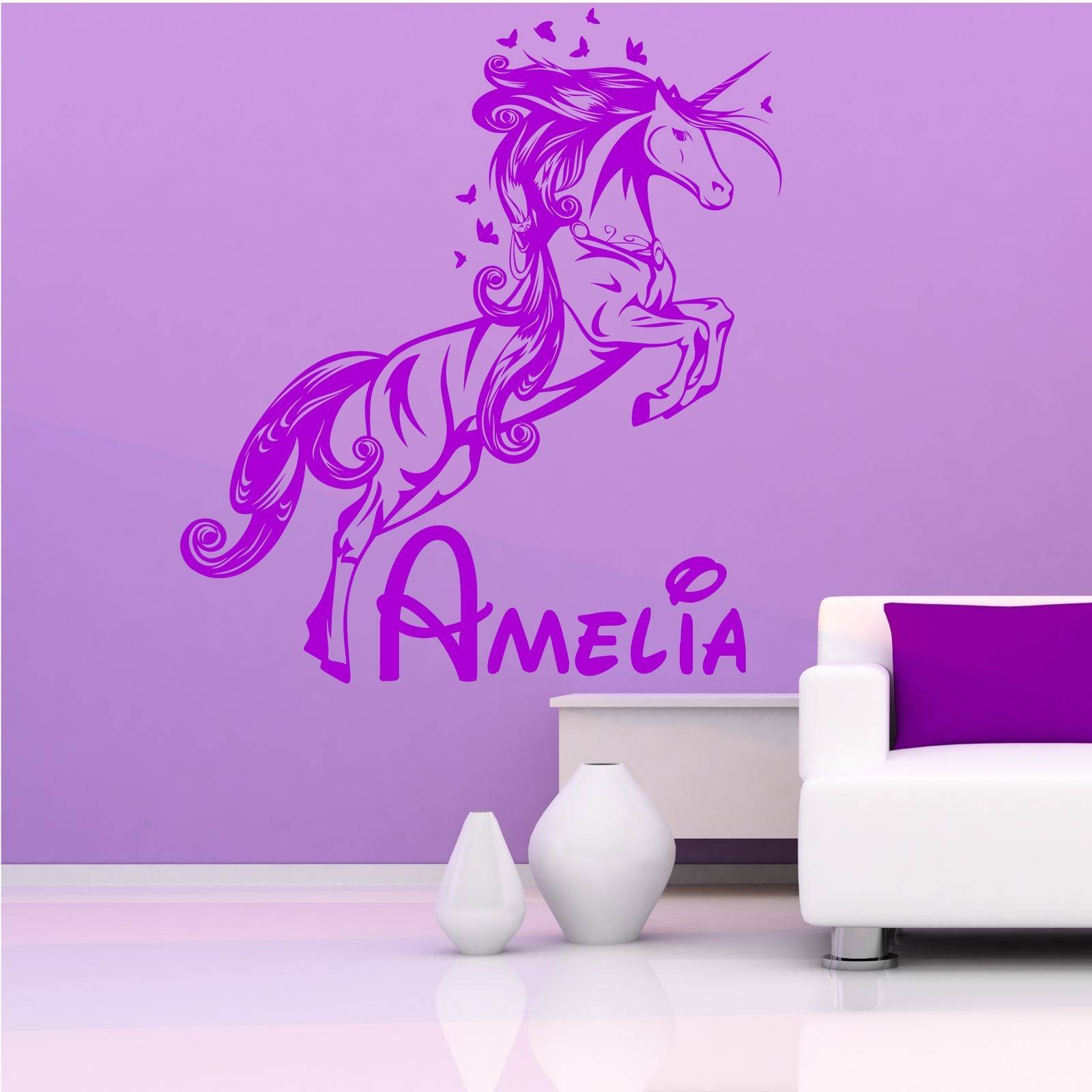 Personalised Unicorn Princess Name Wall Art Sticker Stencil Decal Pertaining To Recent Wall Art For Girls (View 18 of 20)