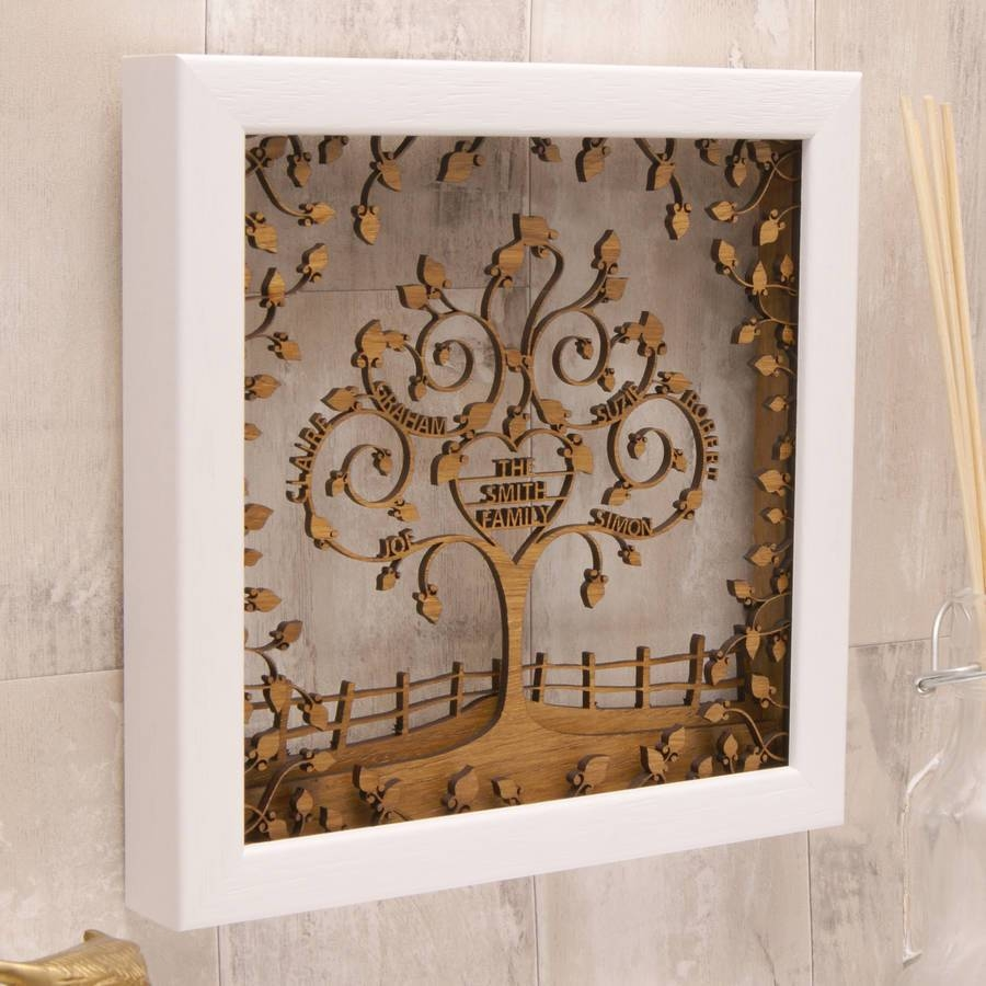 Personalised Wooden 3d Heart Family Tree Wall Arturban Twist Regarding Most Recent Wood 3d Wall Art (View 6 of 20)