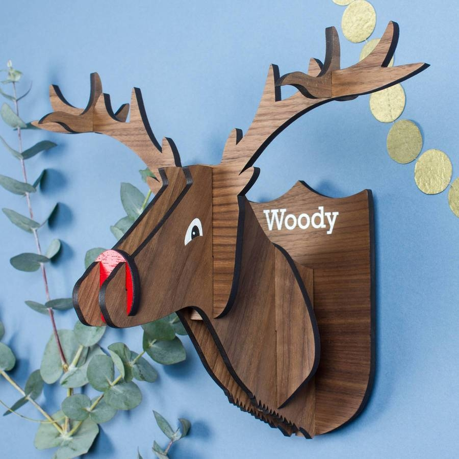 Personalised Wooden Stag Head Wall Decorationcreate Gift Love With Regard To Most Current Stags Head Wall Art (View 14 of 25)