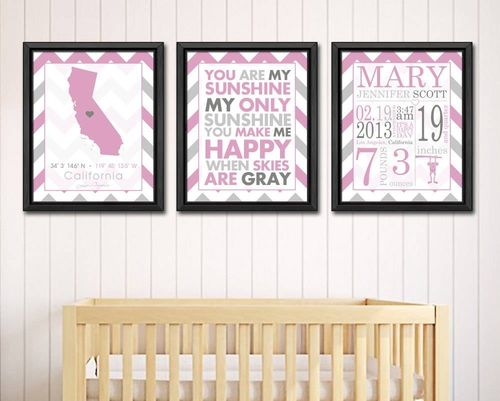 Personalized Baby Names Wall Art Pink Baby Birth Print Birth Pertaining To Recent Personalized Baby Wall Art (View 16 of 20)