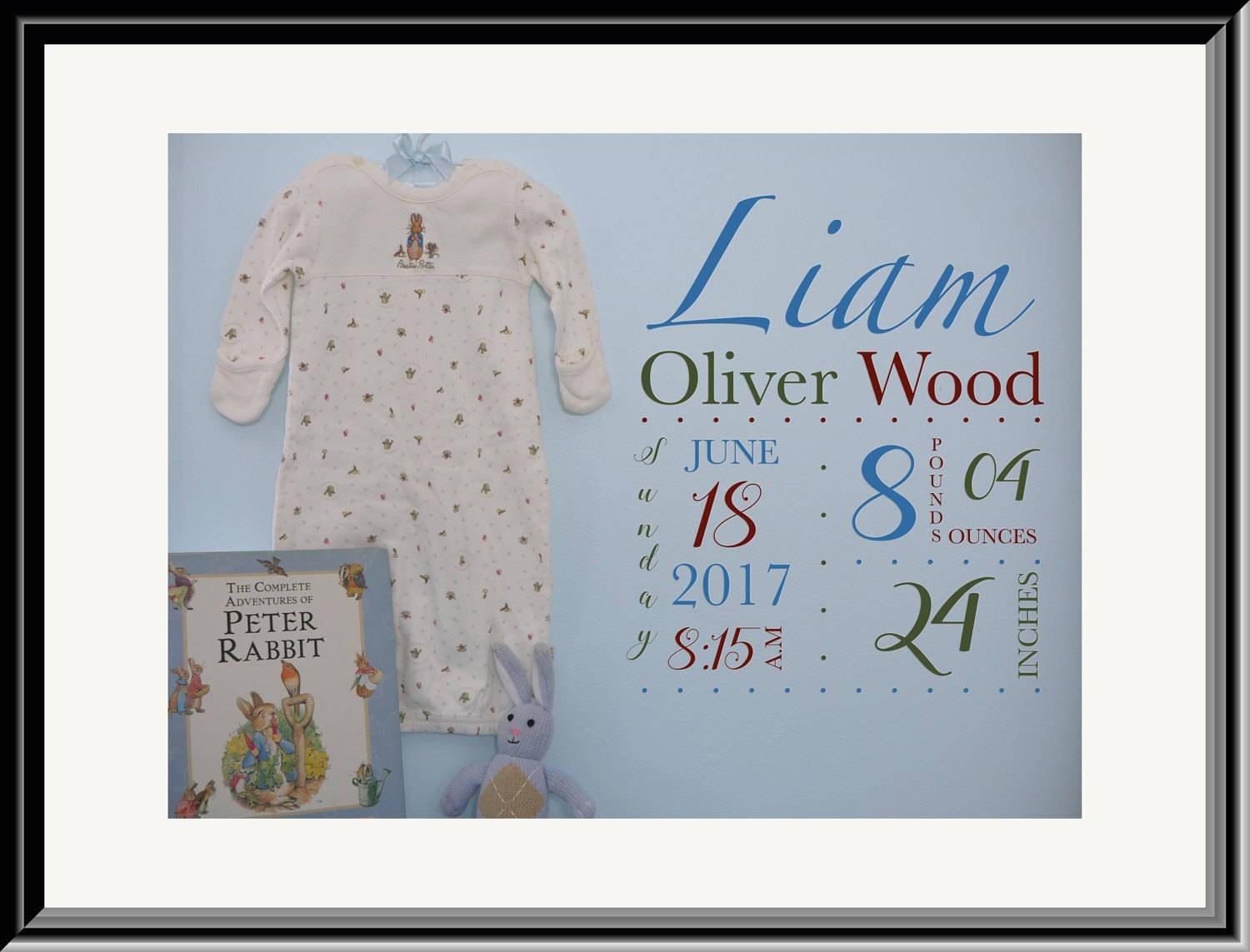 Personalized Baby Wall Art, Baby Stats, Peter Rabbit Wall Art In 2017 Peter Rabbit Wall Art (View 4 of 15)