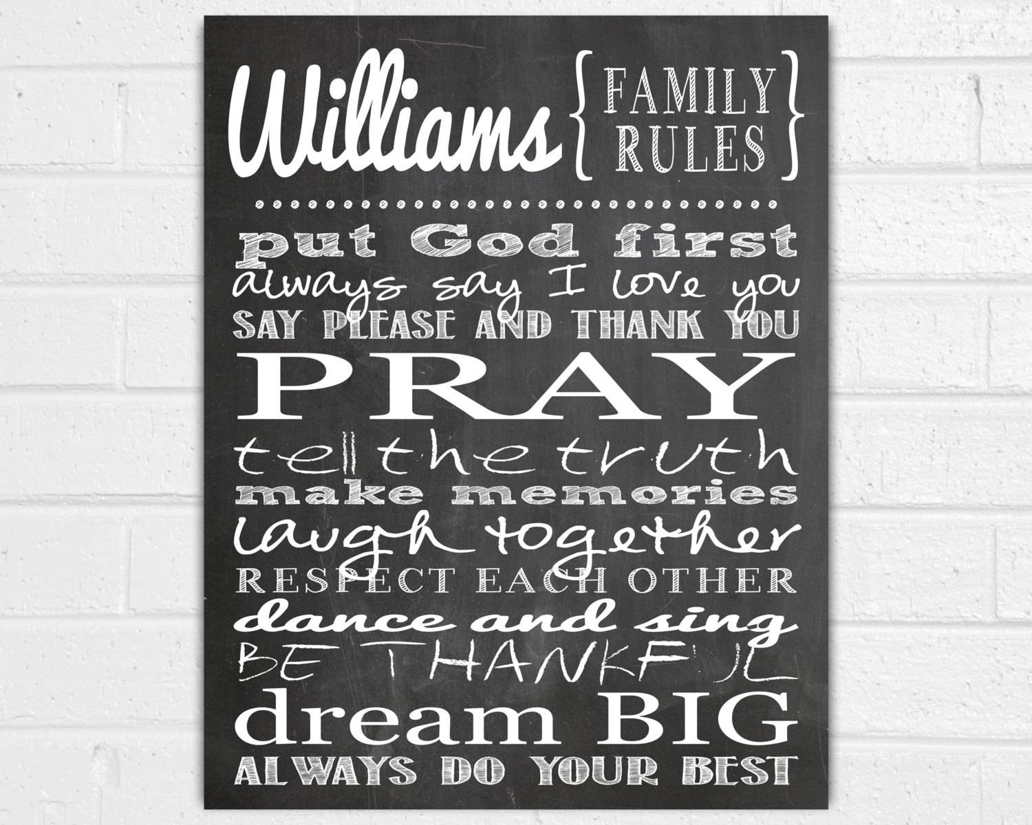 Personalized Family Rules Wall Art Family Wall Sayings Regarding 2017 Family Photo Wall Art (View 20 of 25)