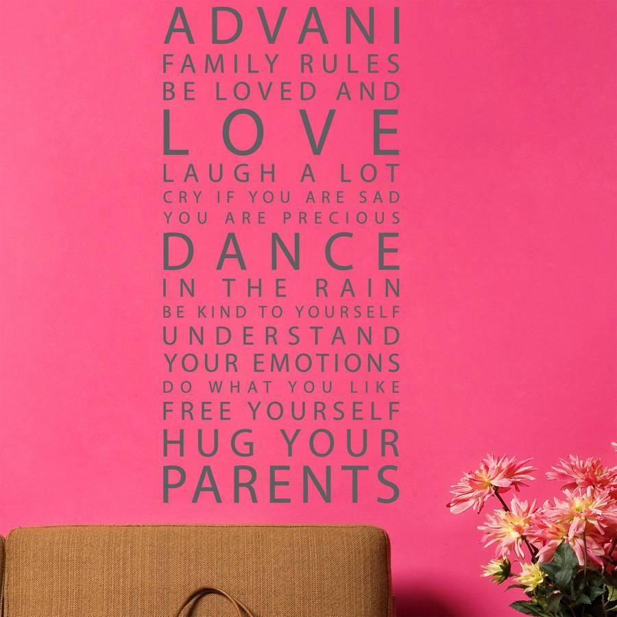 Personalized Family Rules Wall Art | Wall Decoration Ideas Within Best And Newest Personalized Family Wall Art (View 13 of 20)