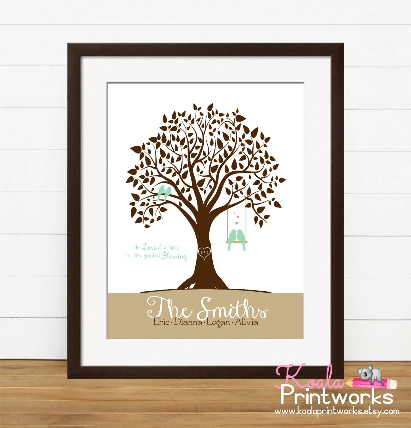 Personalized Family Tree Family Art Print Family Wall Art Regarding 2018 Personalized Family Wall Art (View 14 of 20)