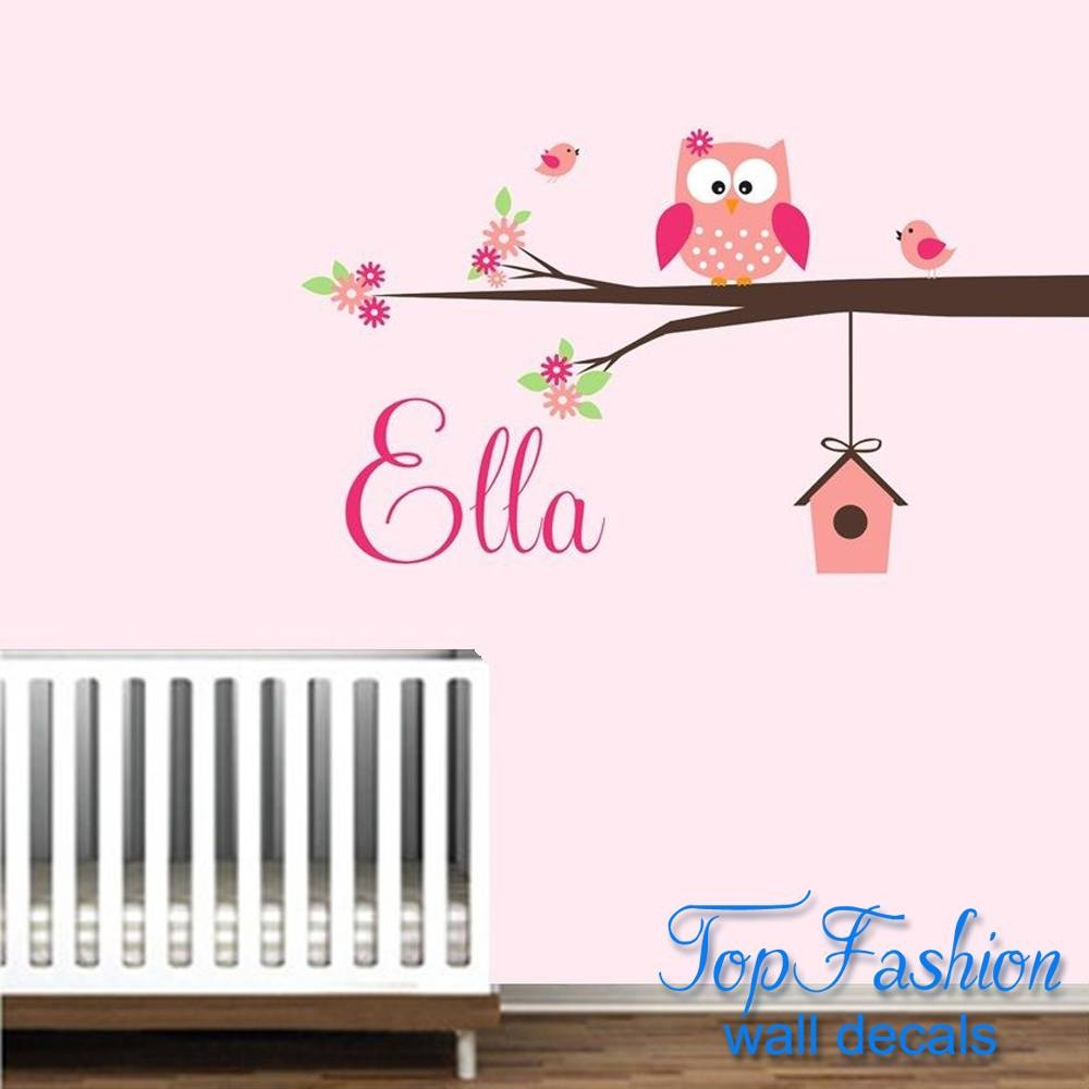 Personalized Name Owl Wall Decal With Birds Birdhouse Children For Latest Owl Wall Art Stickers (Gallery 9 of 15)