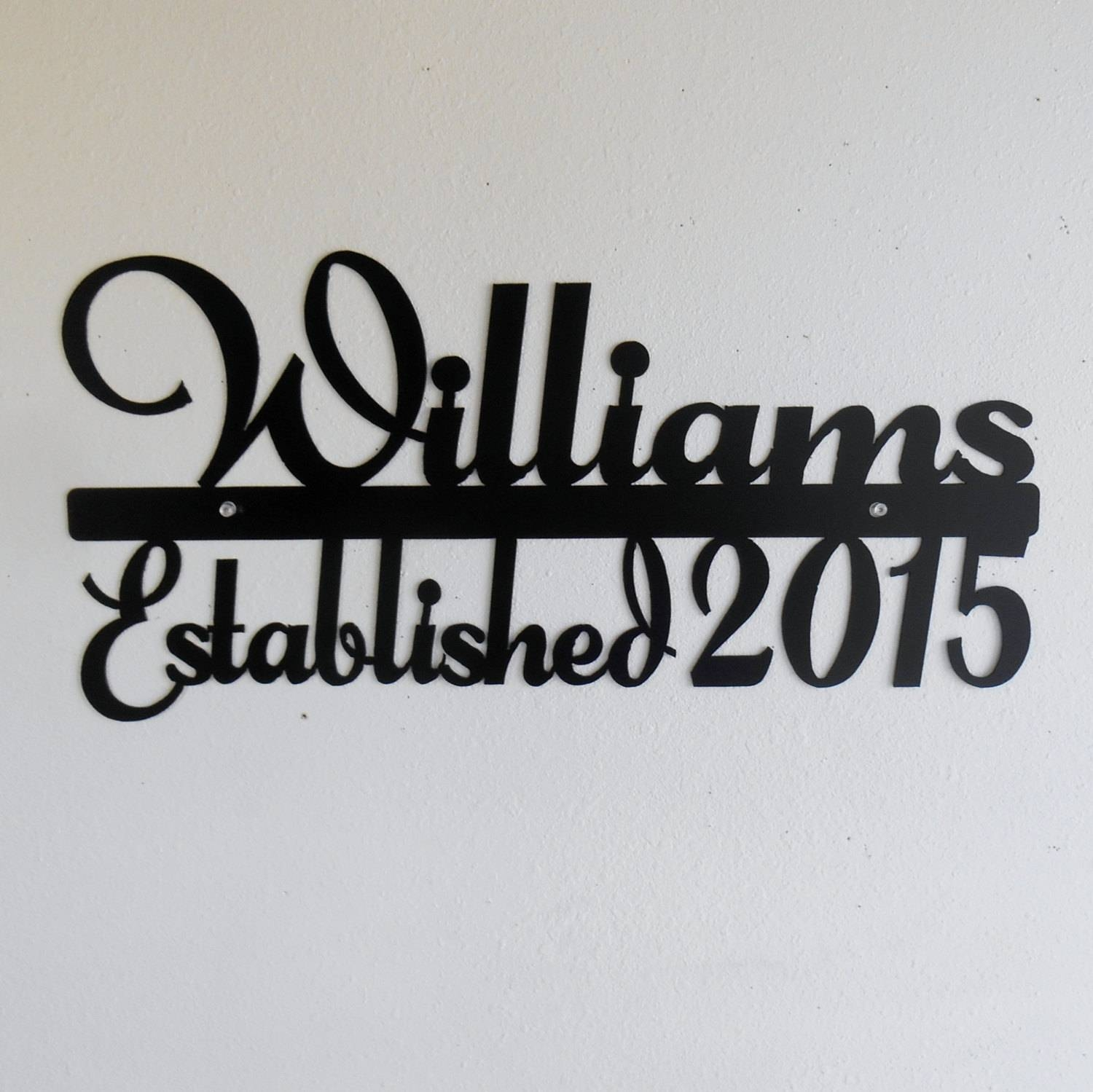 Personalized Name Sign / Metal Sign / Typography / Last Name / Intended For Most Up To Date Last Name Wall Art (View 21 of 25)