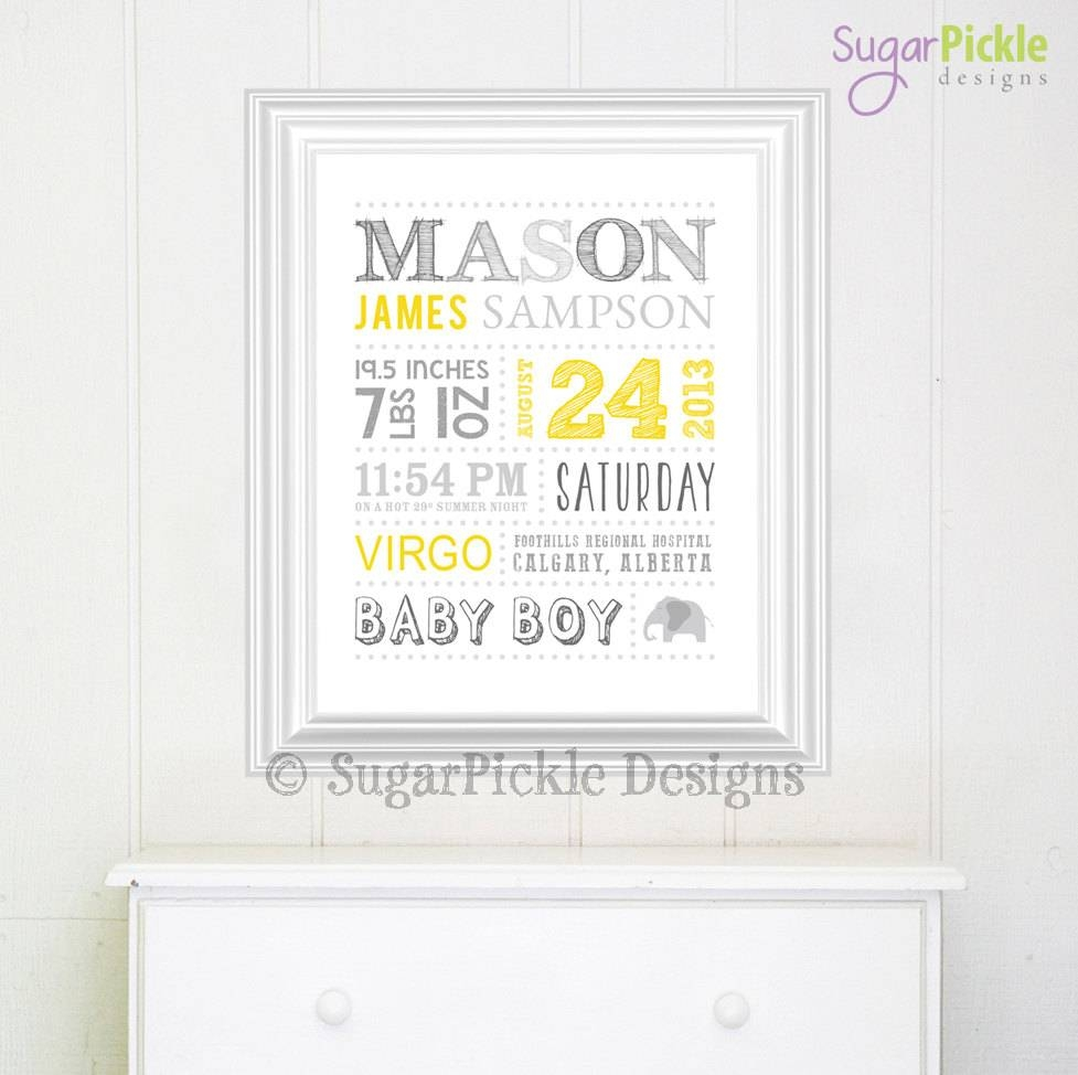 Personalized Nursery Art // Wall Art // Birth Announcement // Throughout Most Current Personalized Nursery Wall Art (View 11 of 20)