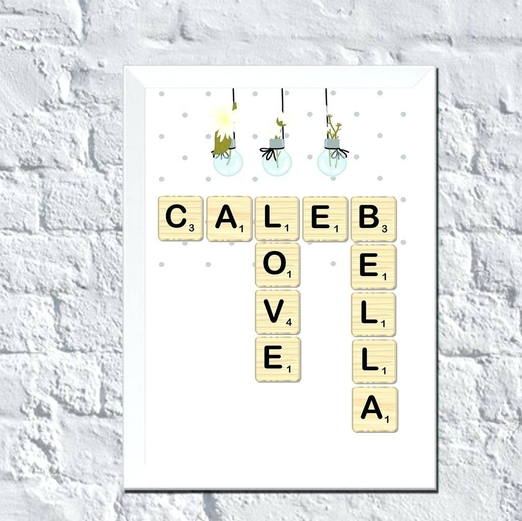 Personalized Wall Art Scrabble Couple Names Custom Name Collage With Regard To Current Personalized Wall Art With Names (View 17 of 20)