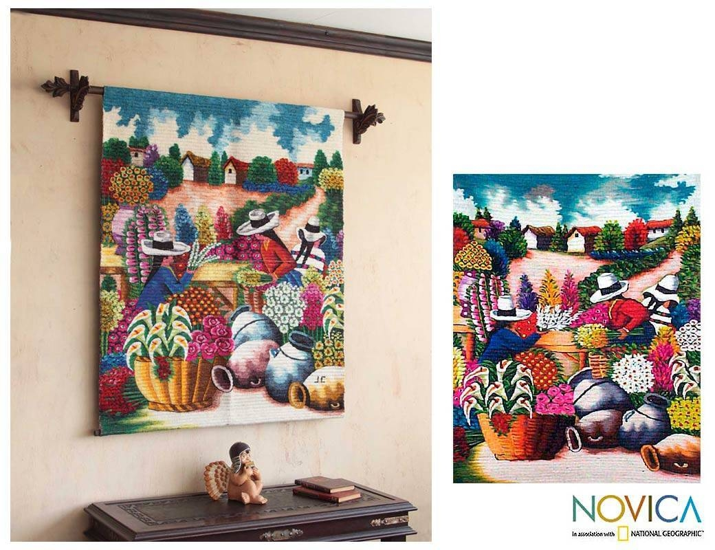 Peruvian Floral Wool Tapestry Wall Hanging – The Florists | Novica For Best And Newest Peruvian Wall Art (View 8 of 30)