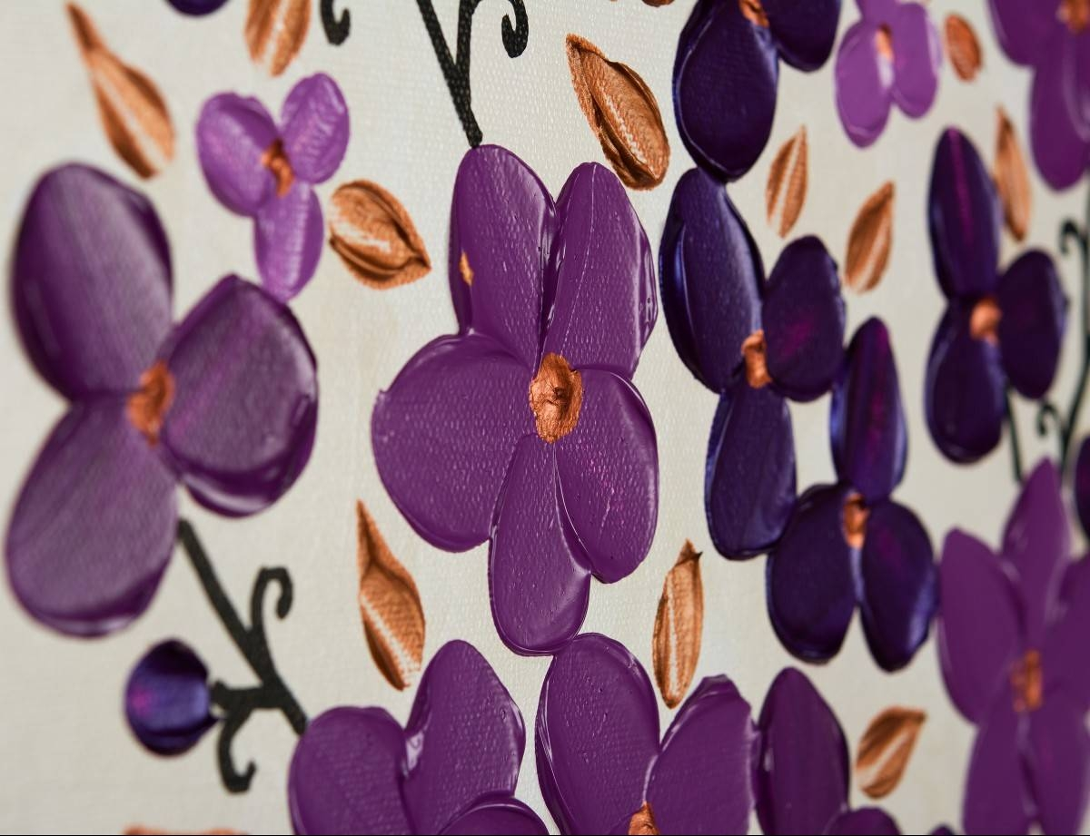 """Petals Of Filigreeqiqigallery 48"""" X 24"""" Original Oil Painting With Best And Newest Filigree Wall Art (View 9 of 30)"""