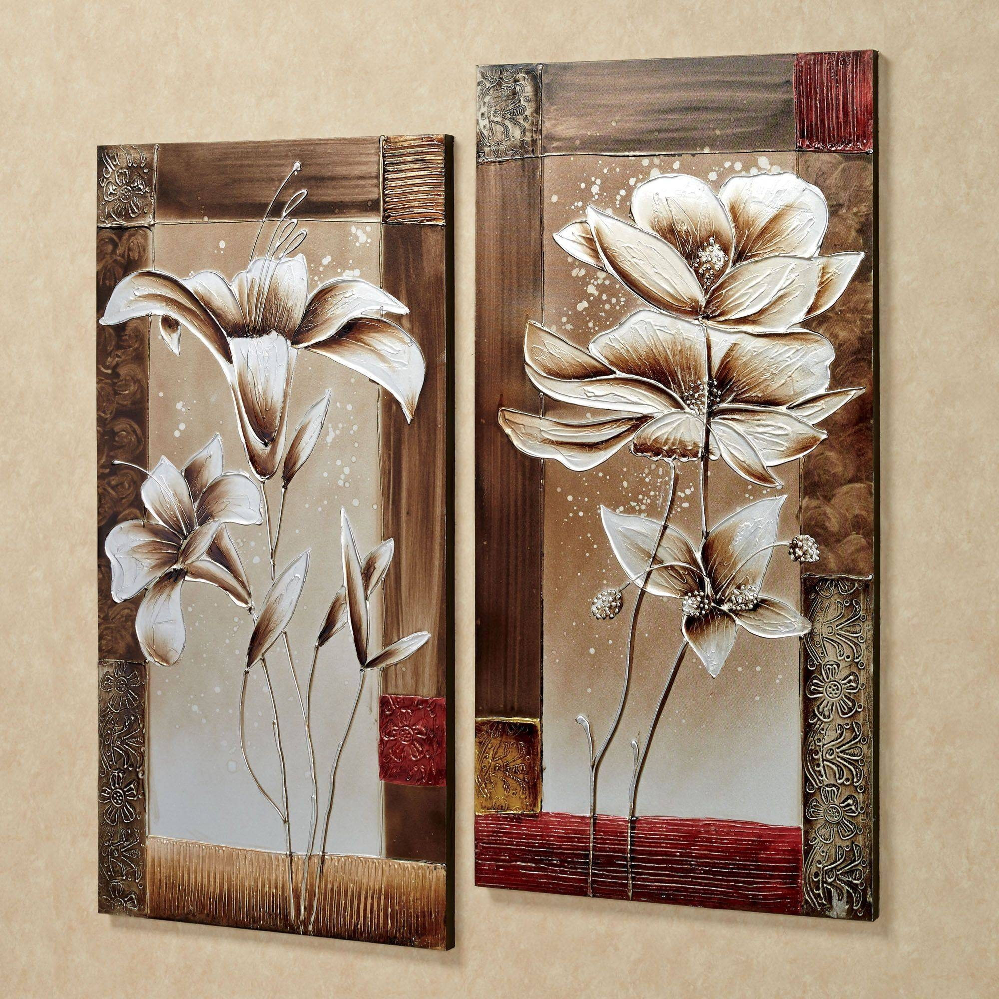 Petals Of Spring Floral Canvas Wall Art Set Intended For Most Up To Date Brown Framed Wall Art (View 8 of 20)