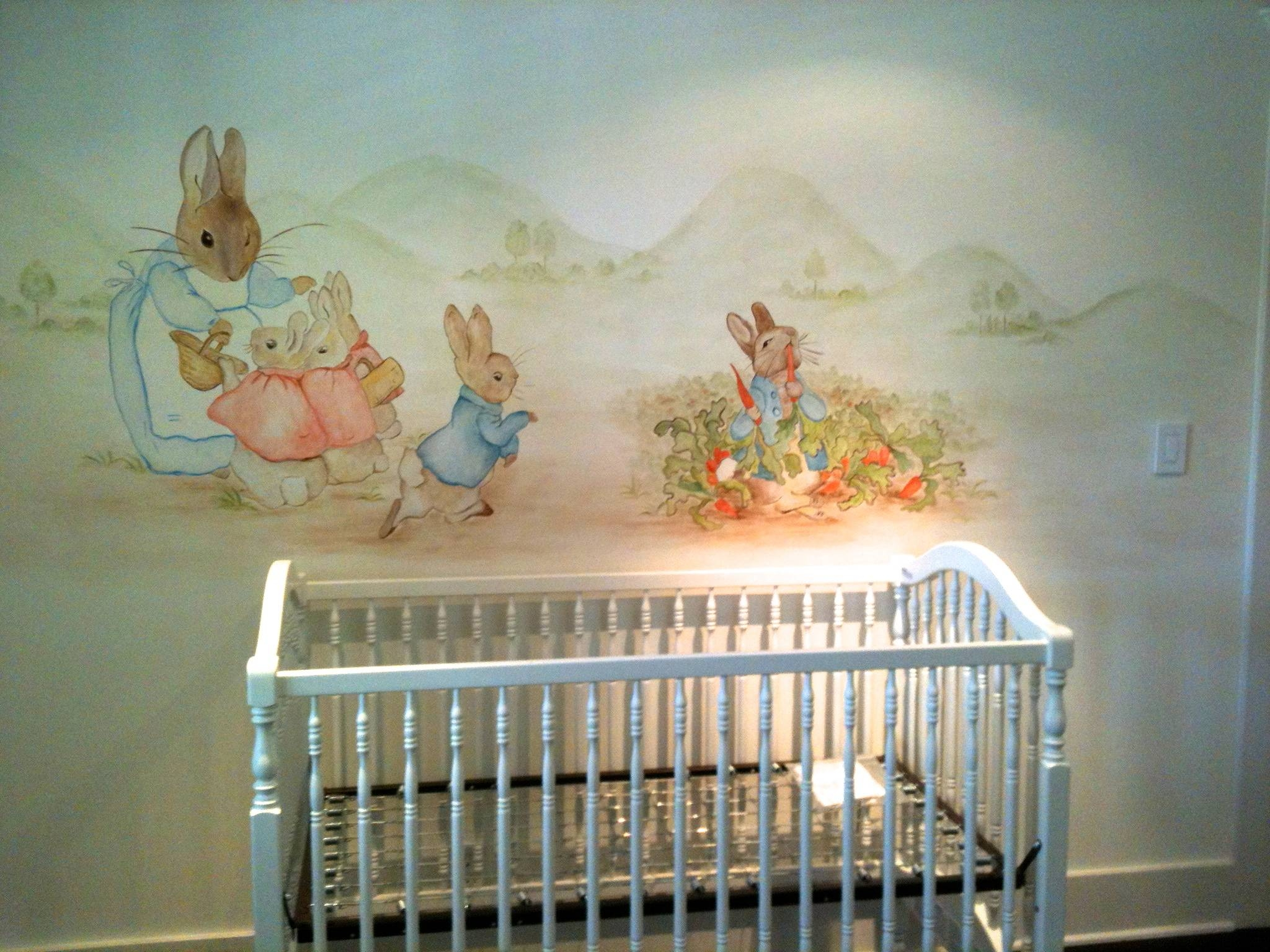 Peter Rabbit Mural – Hand Painted Murals For Children With Regard To Recent Peter Rabbit Wall Art (View 3 of 15)