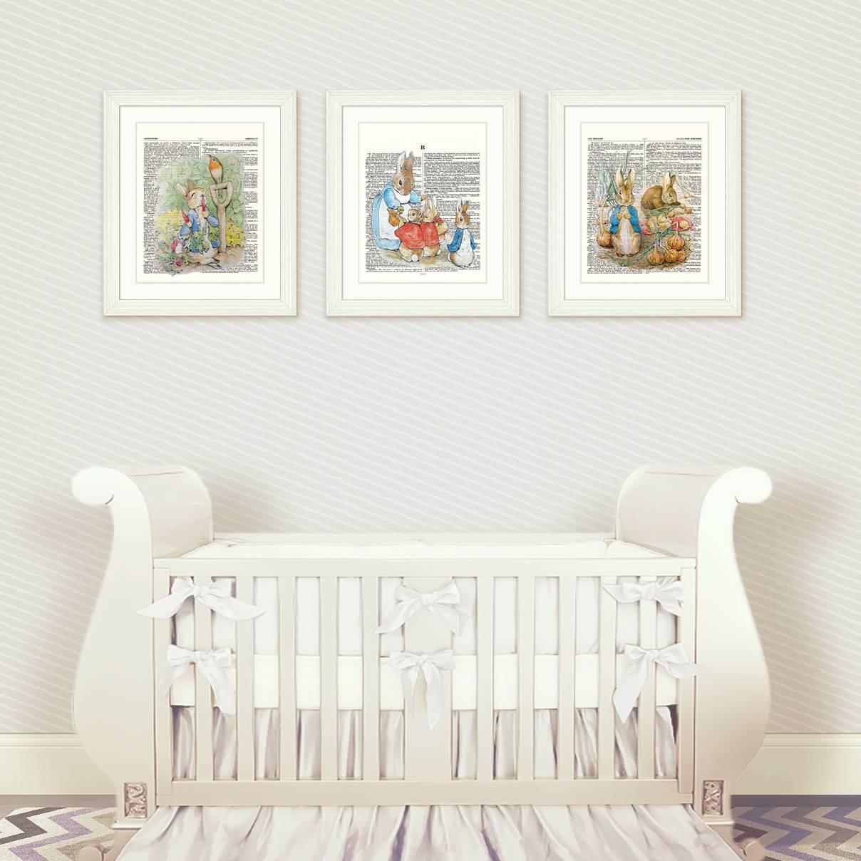 Peter Rabbit Nursery Wall Art Set 1 – Artsy Pumpkin Inside Most Recently Released Nursery Wall Art (View 12 of 20)