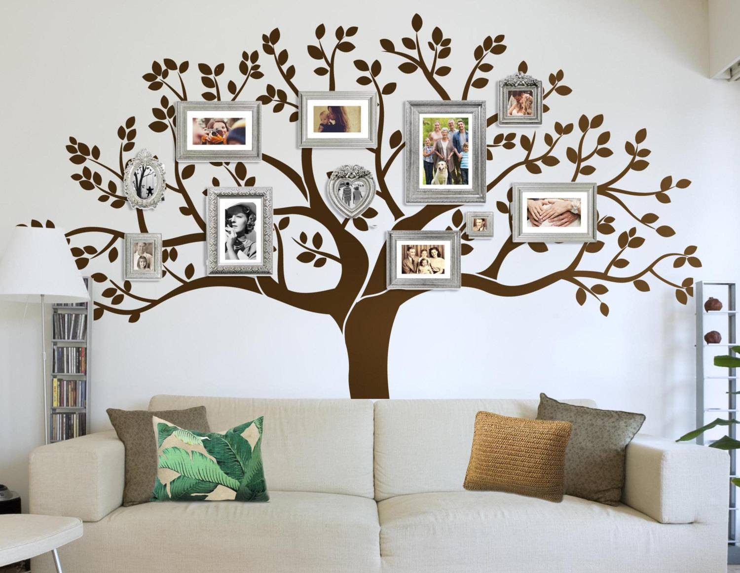 Photo Frame Family Tree Decal Wall Decals Wall Decor Inside Most Up To Date Vinyl Wall Art Tree (View 3 of 20)
