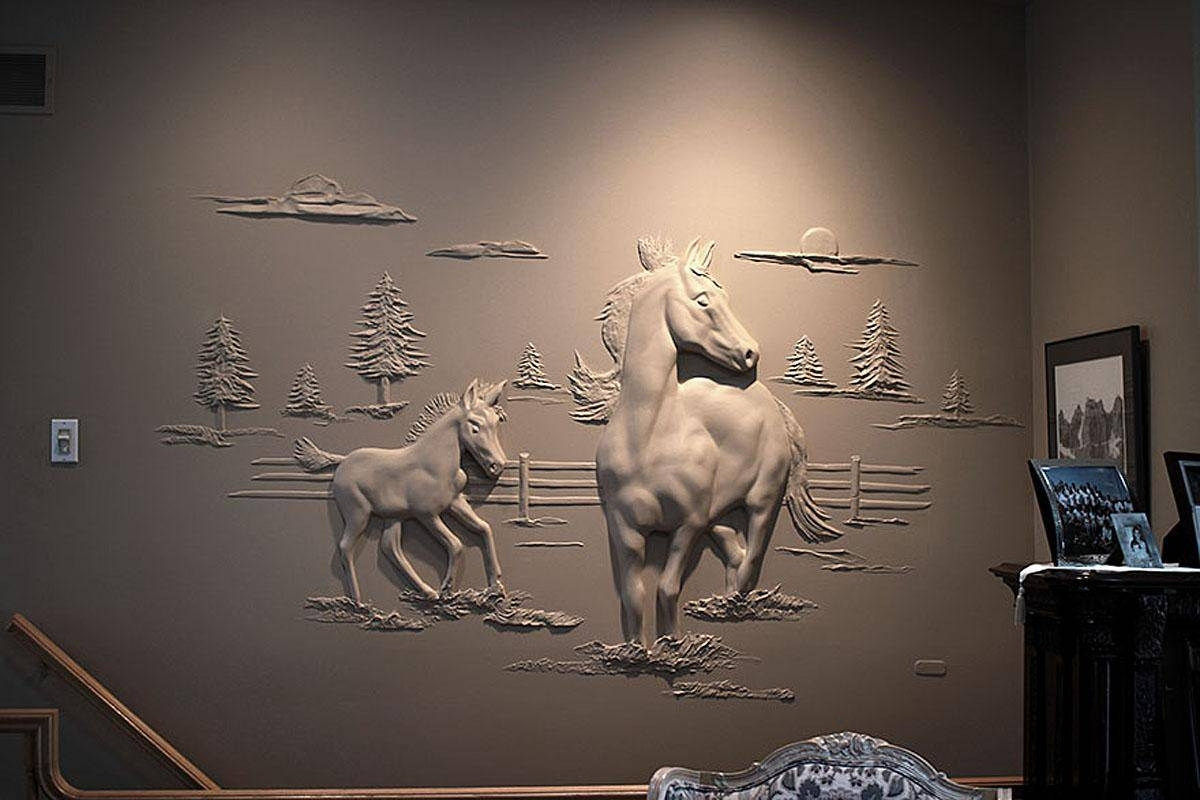 Photos: Drywall Contractor Creates 3D Art With Plaster | Kmtr In Most Up To Date Animals 3D Wall Art (View 16 of 20)