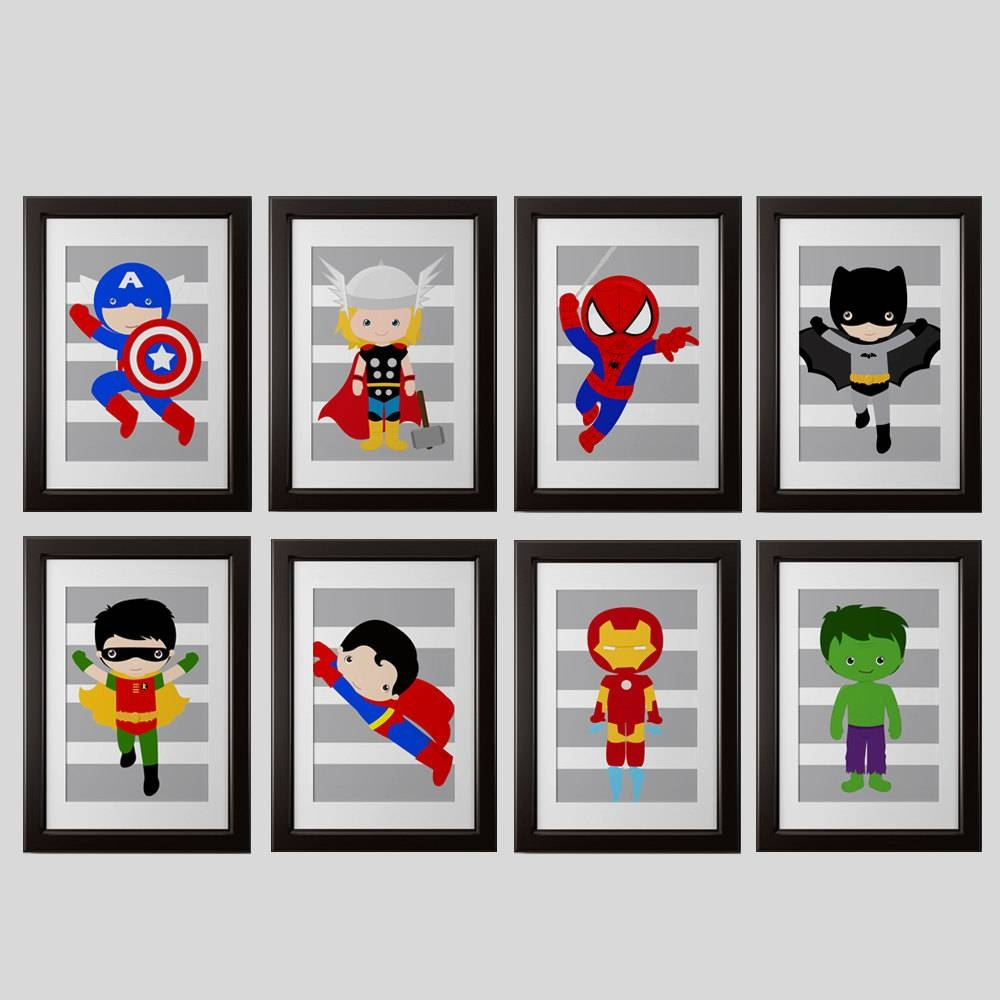 Pick 6 Superhero Wall Prints Super Hero Wall Art Boys Room Within Most Recently Released Etsy Childrens Wall Art (View 15 of 20)