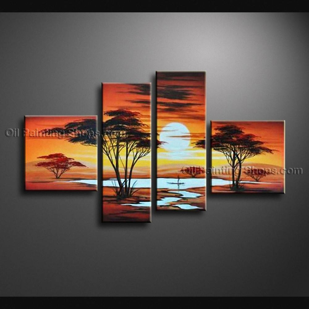Pieces Contemporary Wall Art Landscape Painting Decoration Ideas Within Current 4 Piece Wall Art (View 2 of 15)