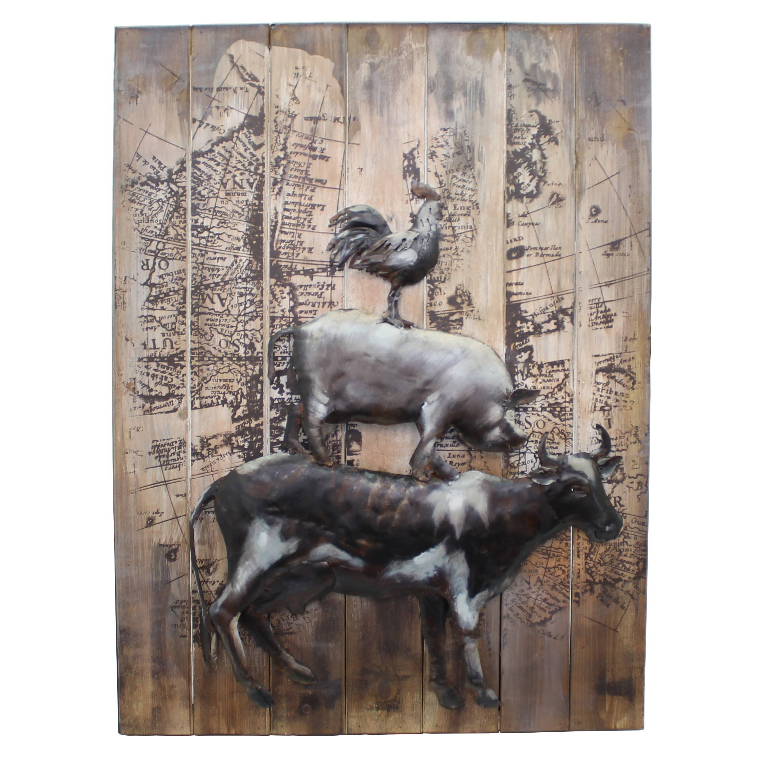 Piggyback' Farmyard Animals 3D Metal Wall Art – Home & Interiors Intended For Most Current Animals 3D Wall Art (View 17 of 20)