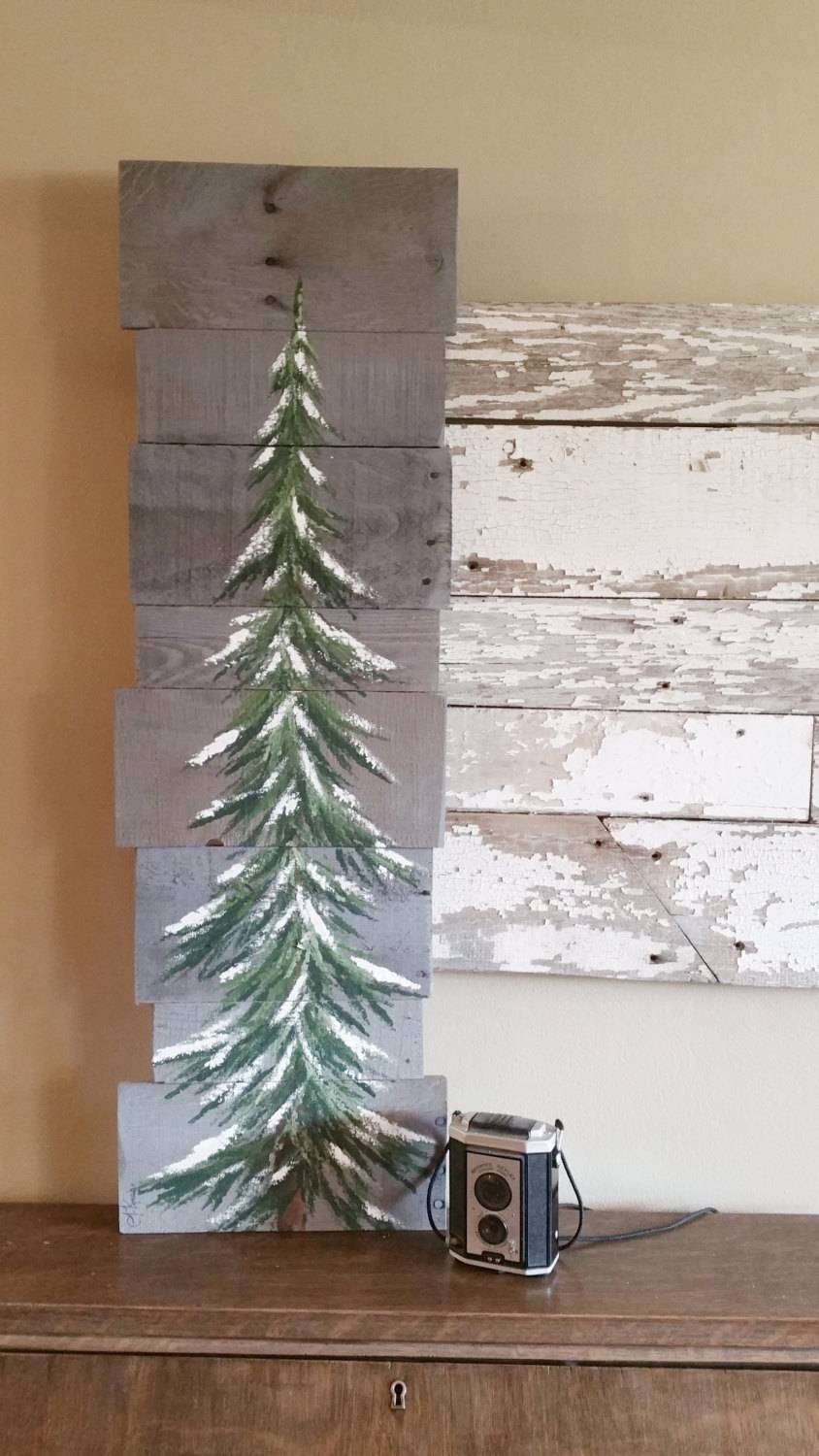 Pine Tree Sign, Greenery, Christmas Tree, Gray Reclaimed Wood Pertaining To Recent Pine Tree Wall Art (View 16 of 30)