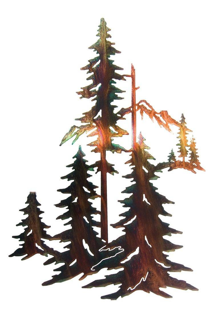 "Pine Trees Forest Metal Wall Art, 12.25"" Width X  (View 18 of 30)"