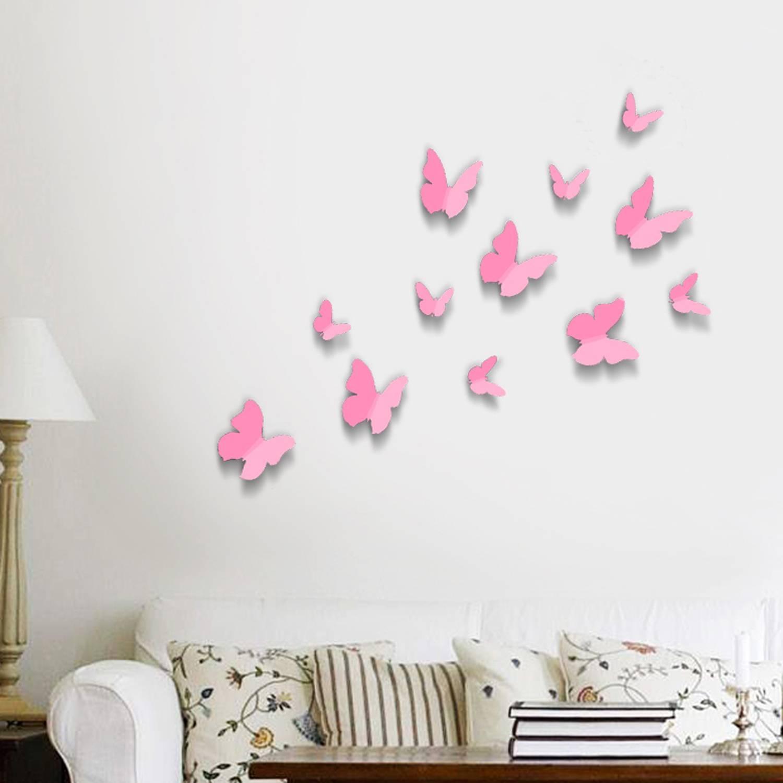Pink 3D Butterflies Wall Art Stickers For Latest Pink Butterfly Wall Art (View 13 of 20)