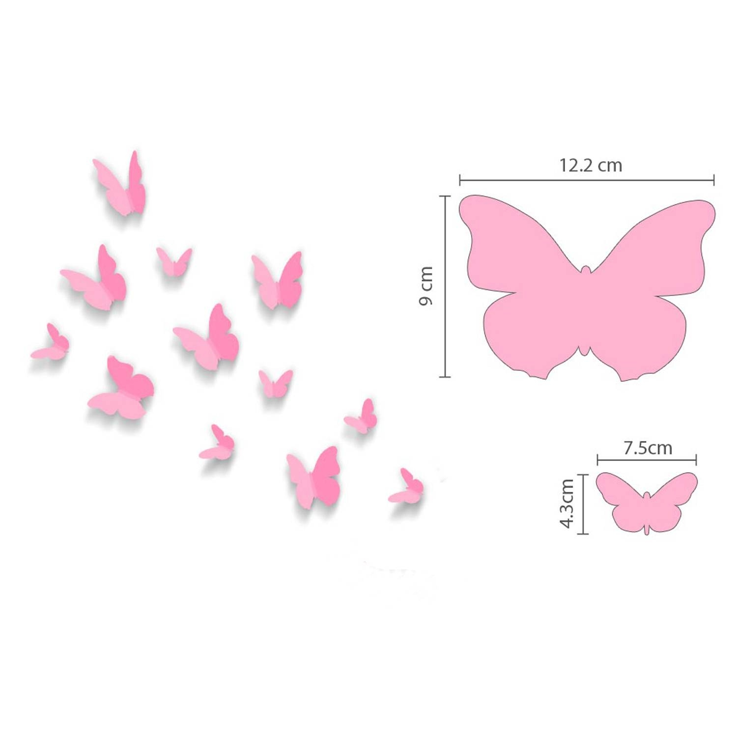 Pink 3d Butterflies Wall Art Stickers Throughout Most Recently Released Pink Butterfly Wall Art (View 5 of 20)