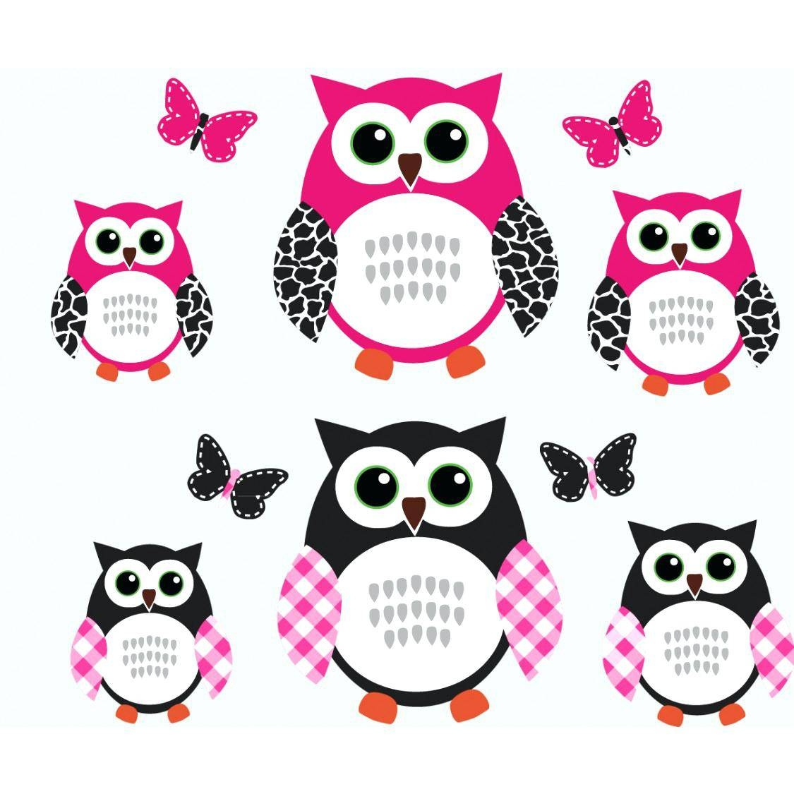 Pink And Black Wall Decals Pink And Black Owl Art For Kids With In Latest Owl Wall Art Stickers (View 12 of 15)