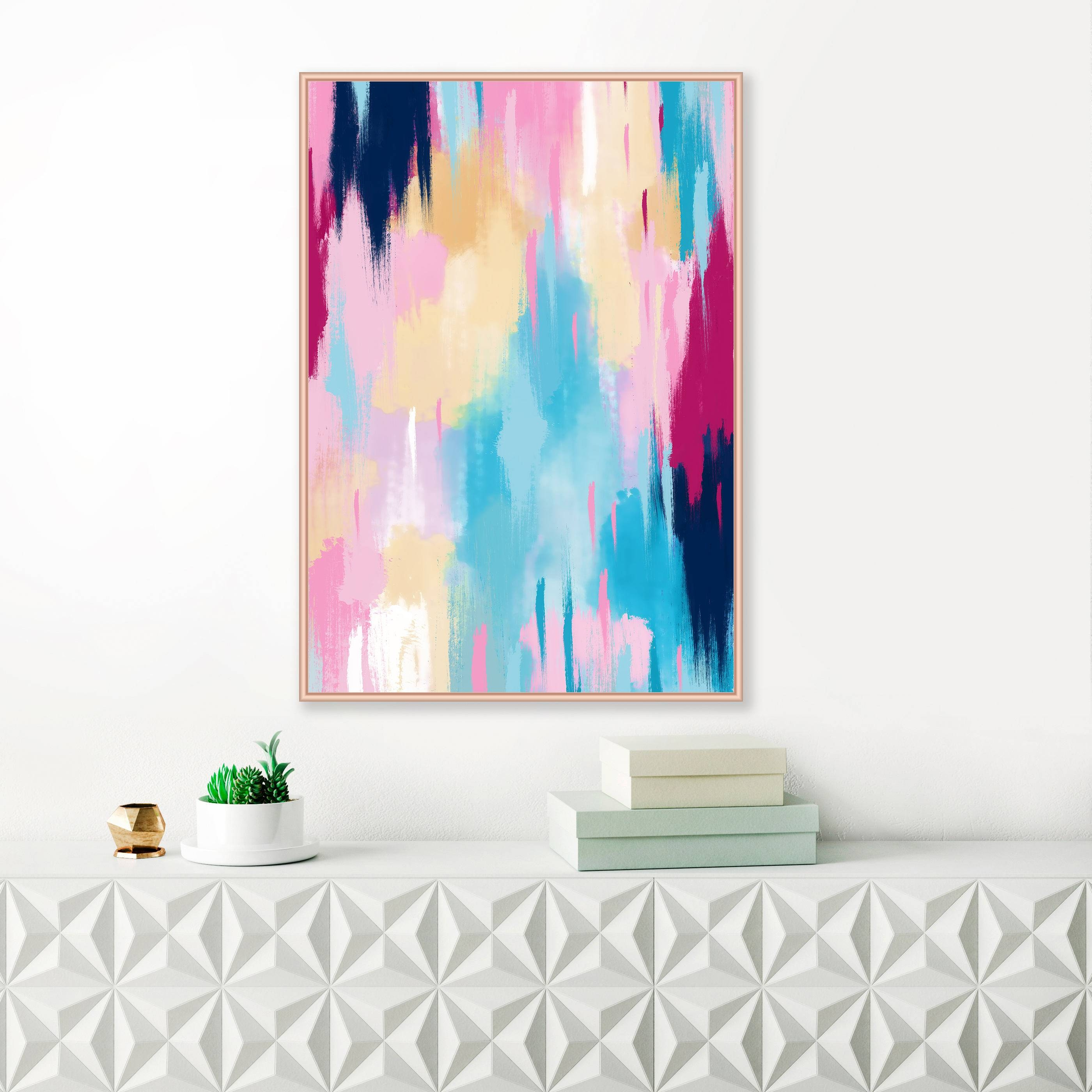 Pink And Blue Abstract Art, Modern Art Print, Extra Large Print Inside Most Up To Date Extra Large Wall Art Prints (View 16 of 20)