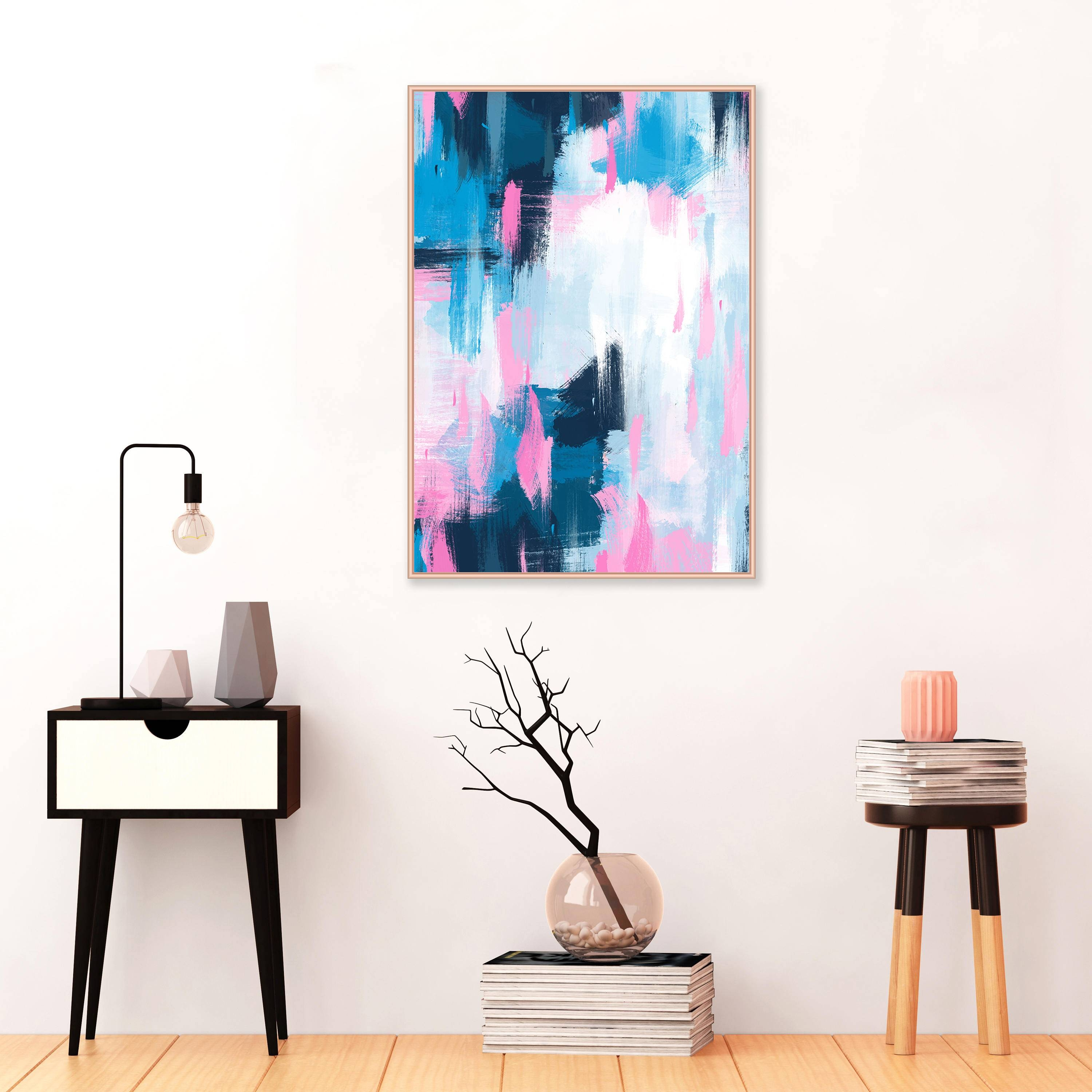 Pink And Blue Abstract Painting, Large Abstract Painting, Modern Regarding Most Current Extra Large Wall Art Prints (View 10 of 20)