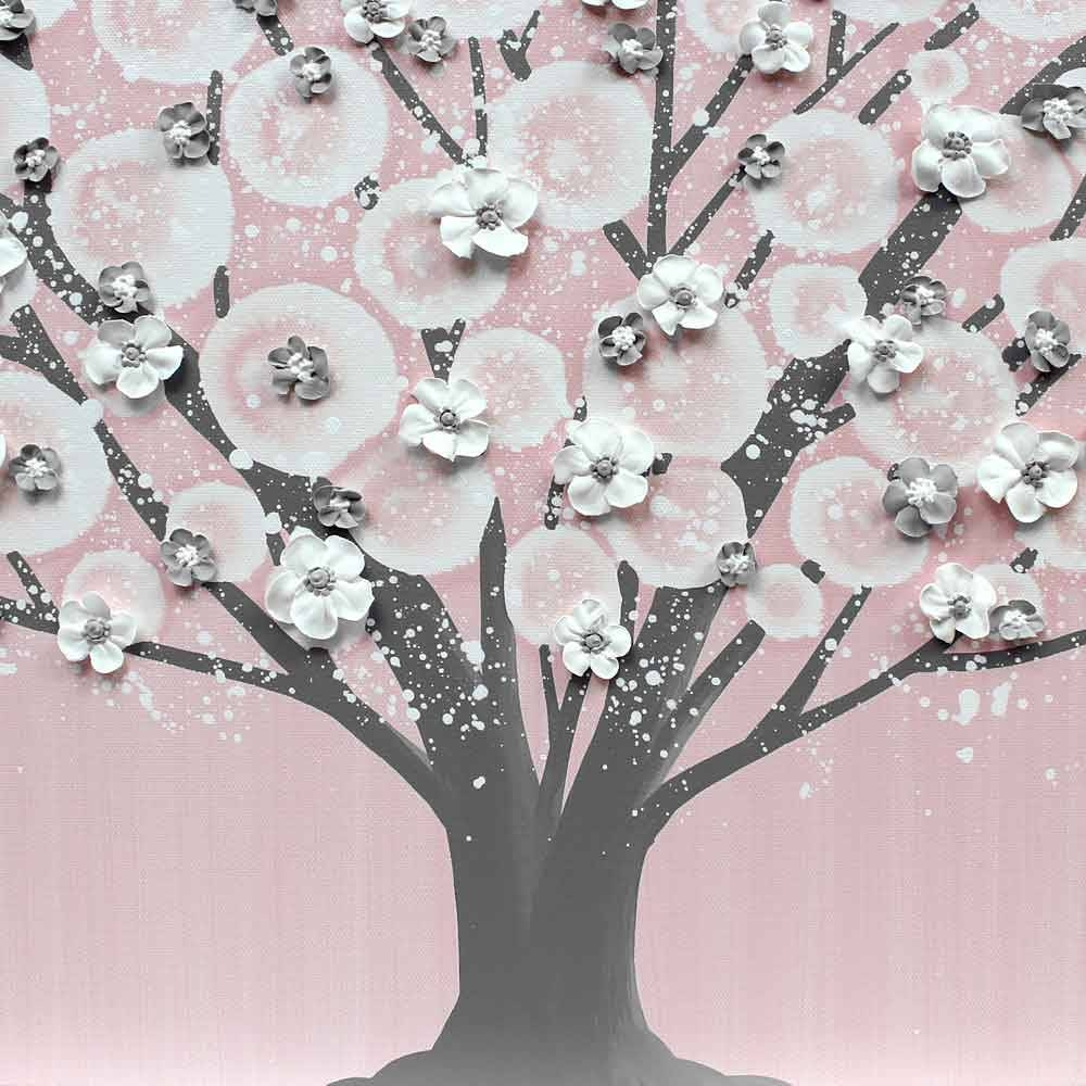 Pink And Gray Nursery Wall Art Tree For Baby Girl – Large | Amborela With Regard To Most Recently Released Nursery Canvas Art (View 17 of 20)