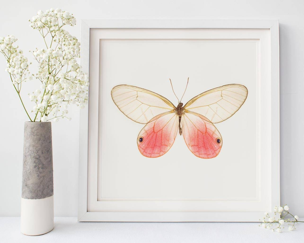 Pink Butterfly Photo Insect Art Butterfly Room Decor Pertaining To Newest Insect Wall Art (Gallery 30 of 30)