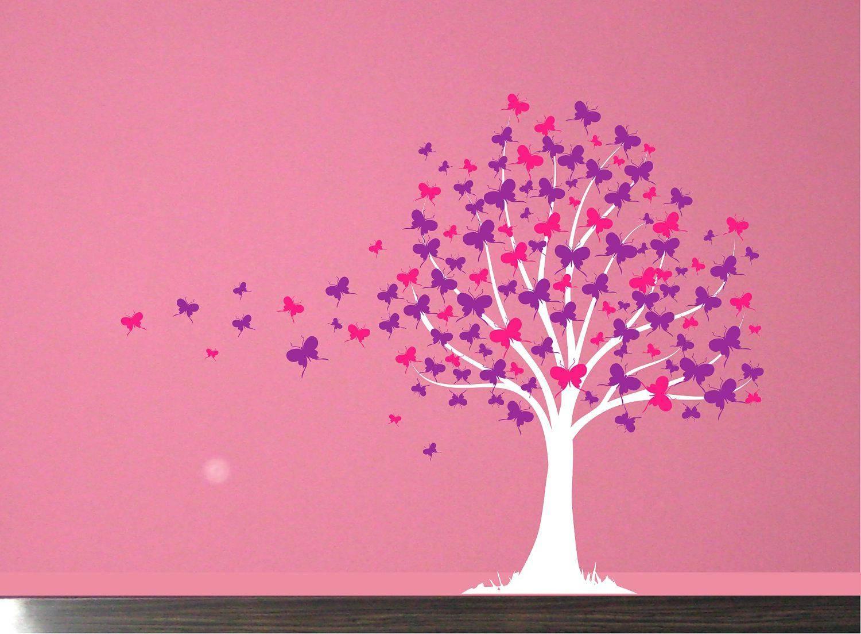 2018 popular pink butterfly wall art. Black Bedroom Furniture Sets. Home Design Ideas