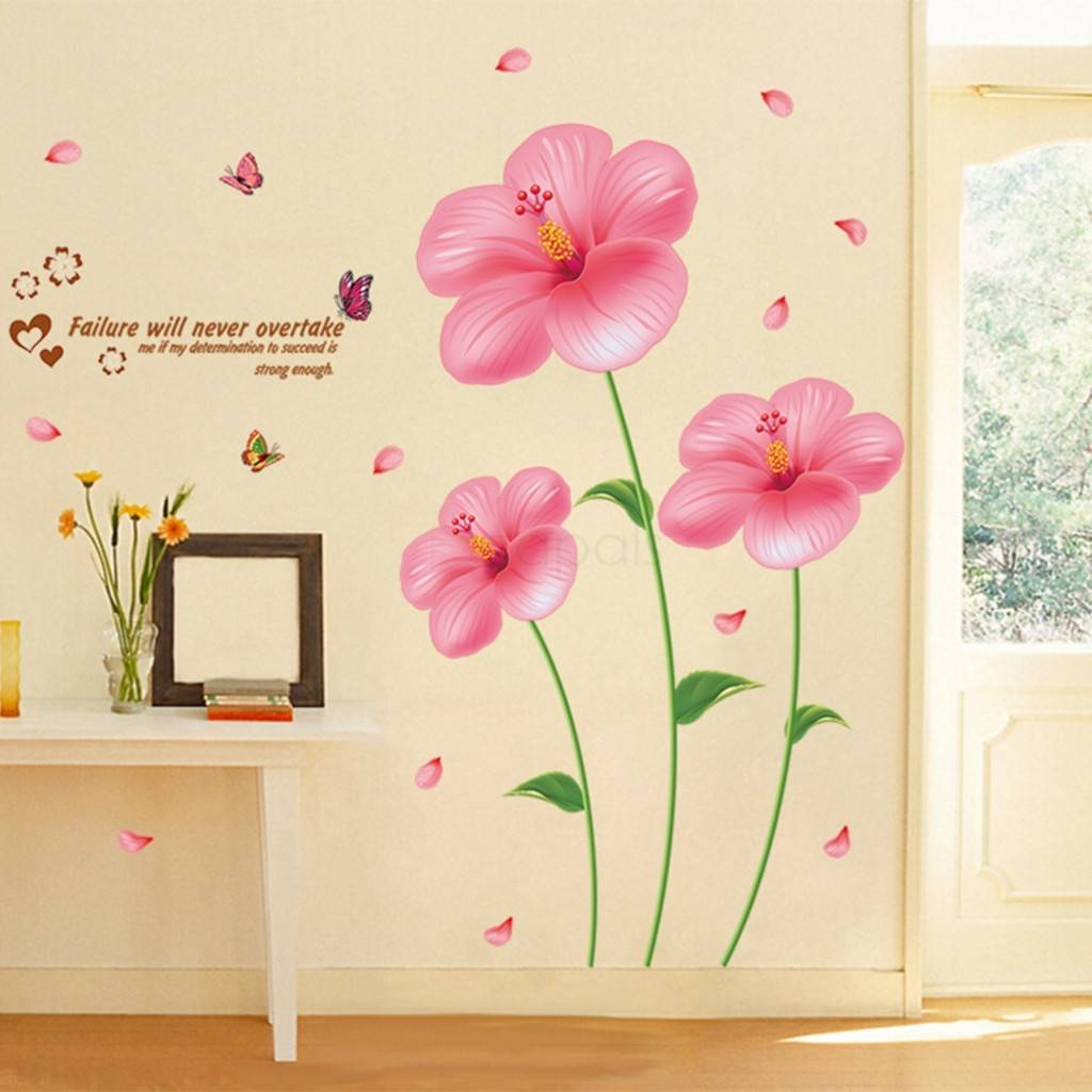 Pink Flower Wall Stickers Living Room Bedroom Wall Art Decals Throughout 2017 Pink Flower Wall Art (View 14 of 20)