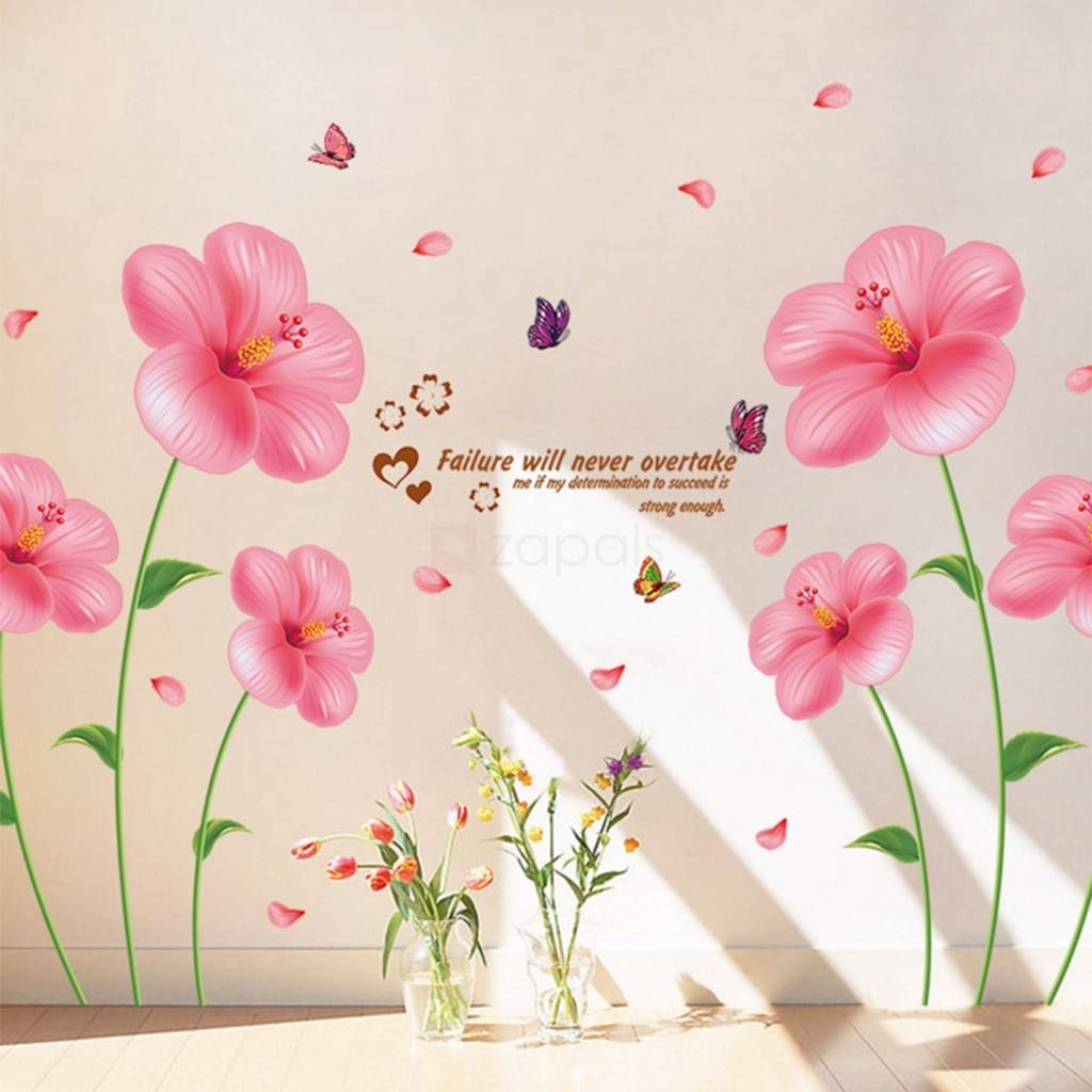 Pink Flower Wall Stickers Living Room Bedroom Wall Art Decals With Current Pink Flower Wall Art (View 15 of 20)