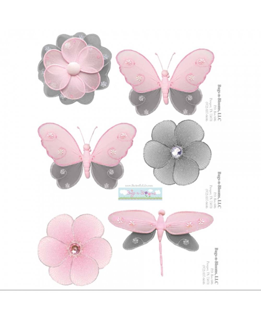 Pink Gray Removable Vinyl Stickers | Grey Nursery Decals | Wall Pertaining To Latest Pink Butterfly Wall Art (View 19 of 20)