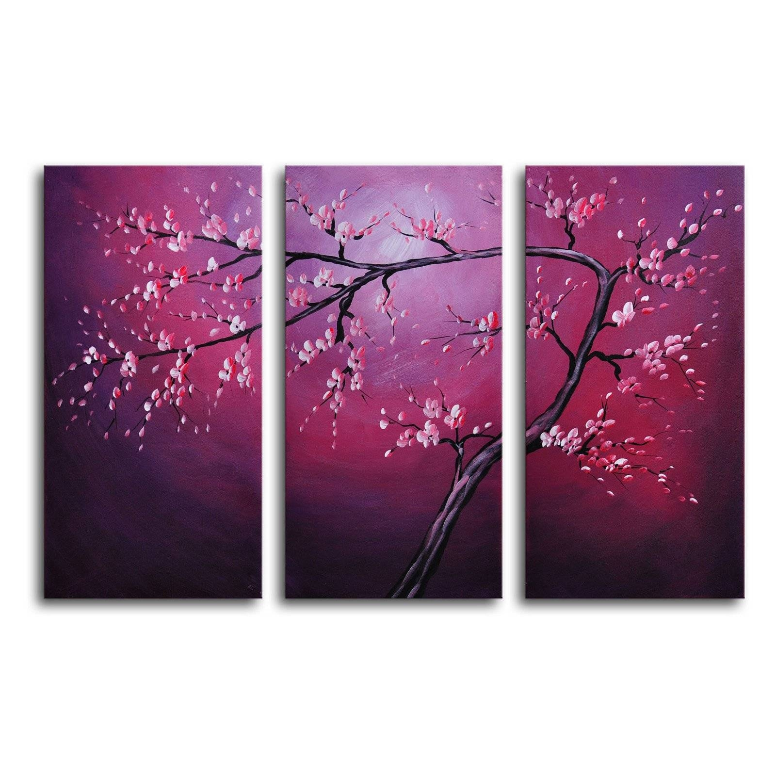 Pink On Crimson 3 Piece Canvas Wall Art – 36w X 24h In (View 20 of 20)