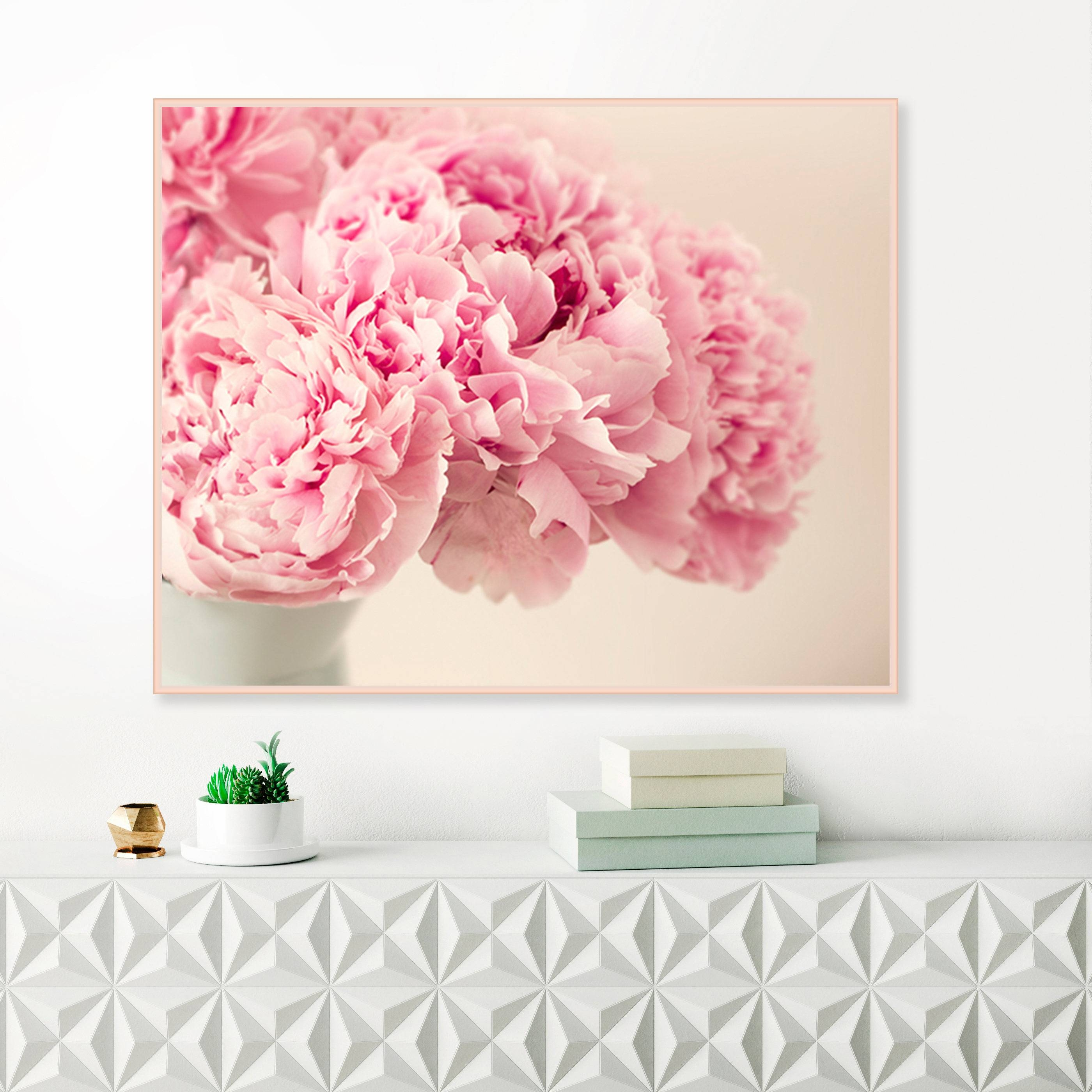 Pink Peonies Photography, Pink Flower Prints, Blush Pink Wall Art Intended For Latest Pink Flower Wall Art (View 16 of 20)