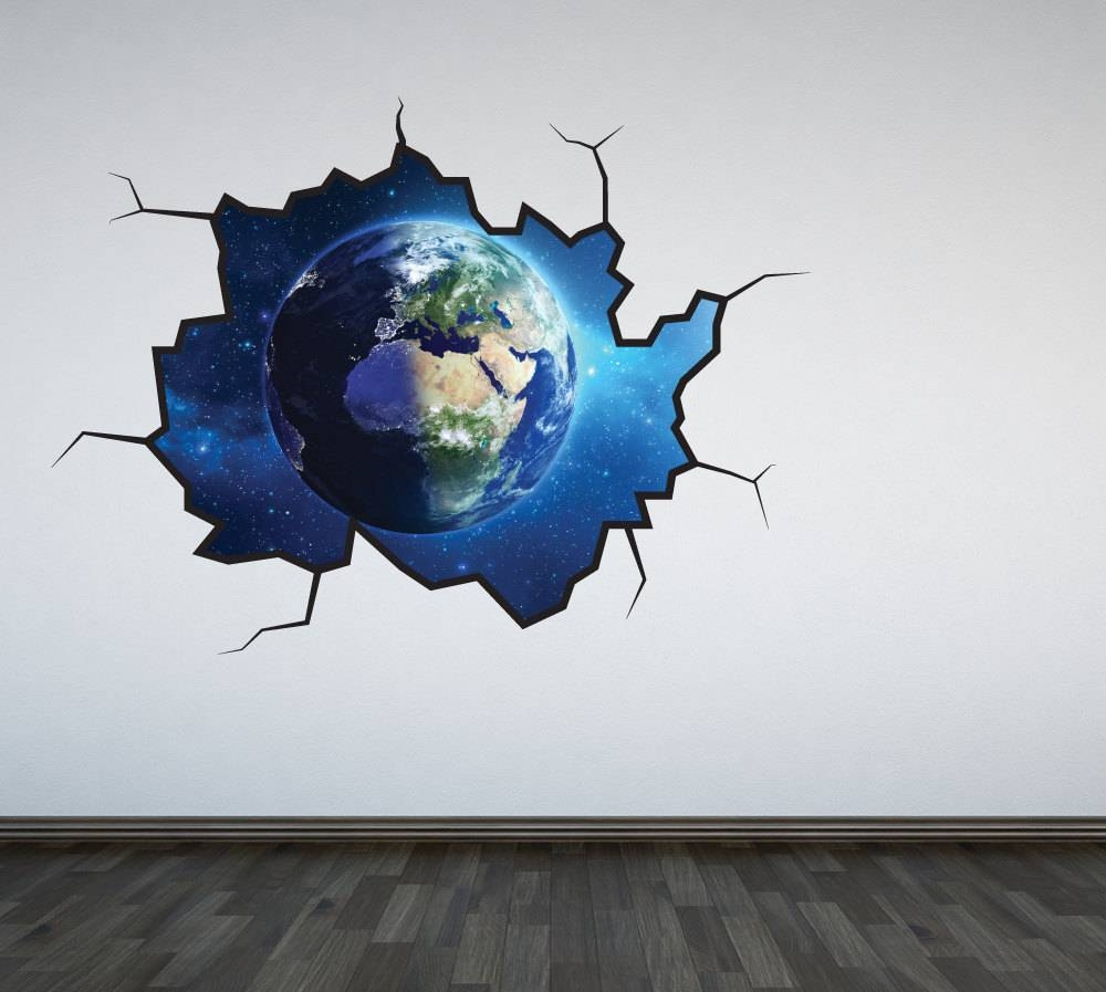 Planet Earth Wall Decal Outer Space Sticker Mural Outer Space Throughout 2018 Outer Space Wall Art (View 21 of 25)