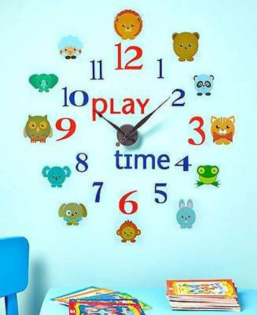 Play Time Novelty Decal Wall Clock Set Kids Bedroom Daycare Wall For Recent Preschool Wall Decoration (View 21 of 30)