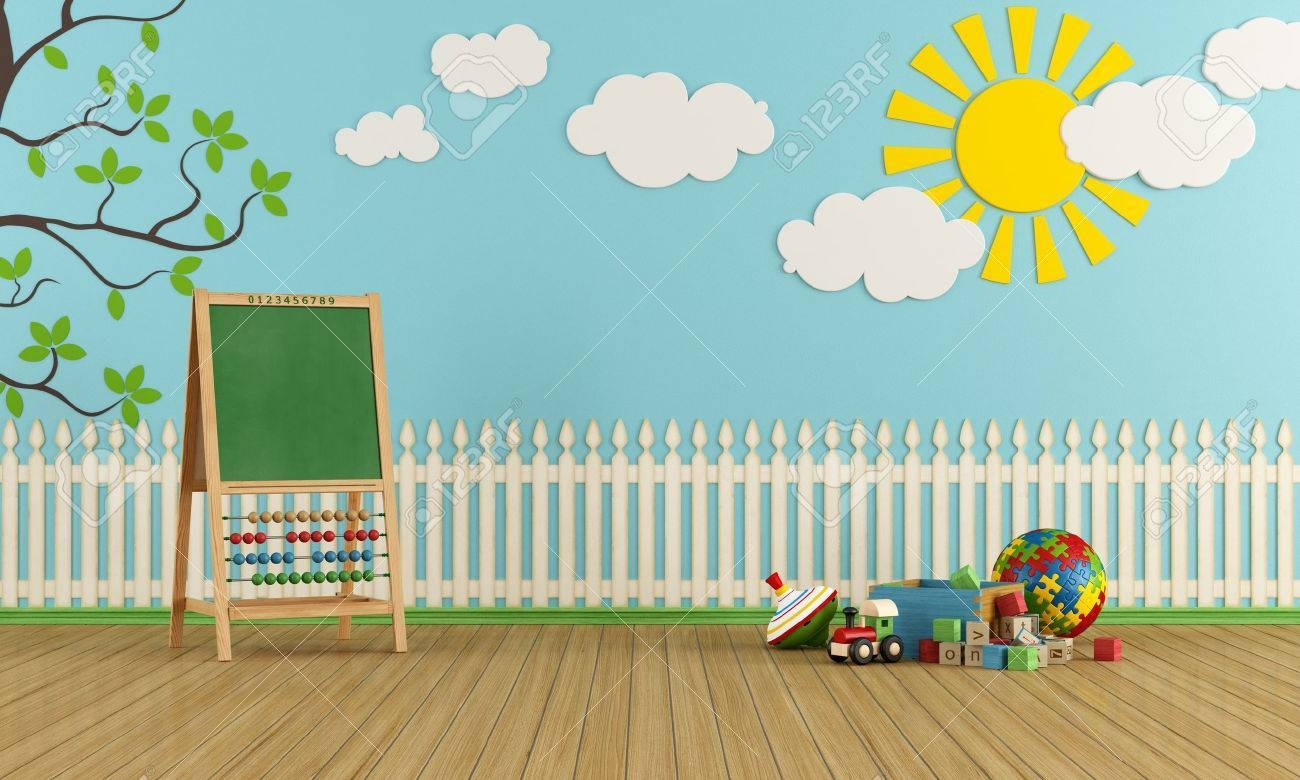 Playroom With Wall Decor, Toys And Blackboard With Abacus Inside 2017 Wall Art For Playroom (View 17 of 30)