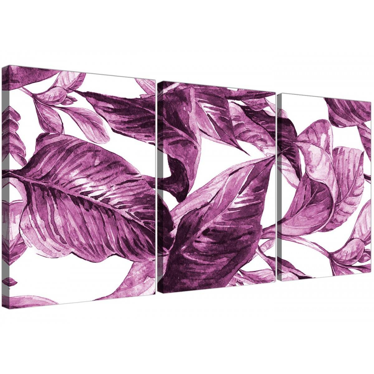 Plum Aubergine White Tropical Leaves Canvas Wall Art – Multi Set Inside 2017 Aubergine Wall Art (View 19 of 20)
