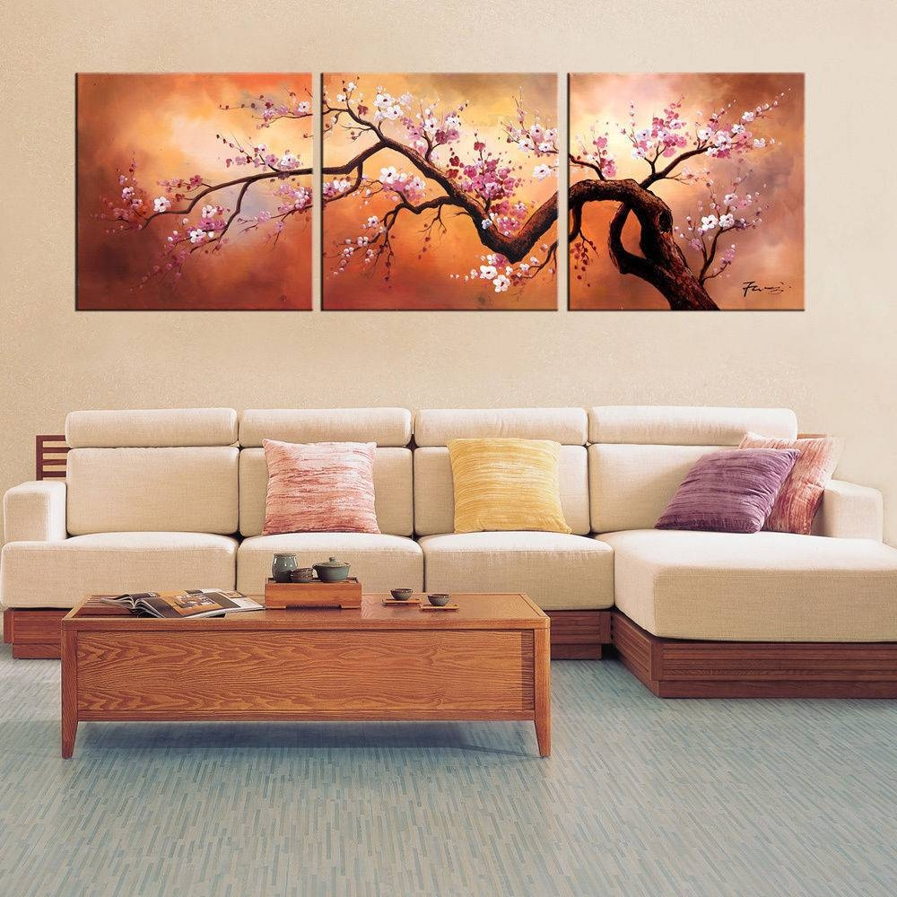 Plum Blossom Wall Art Hand Painted Oil Canvas 3 Pc Large Japanese Throughout Latest Plum Wall Art (View 6 of 20)