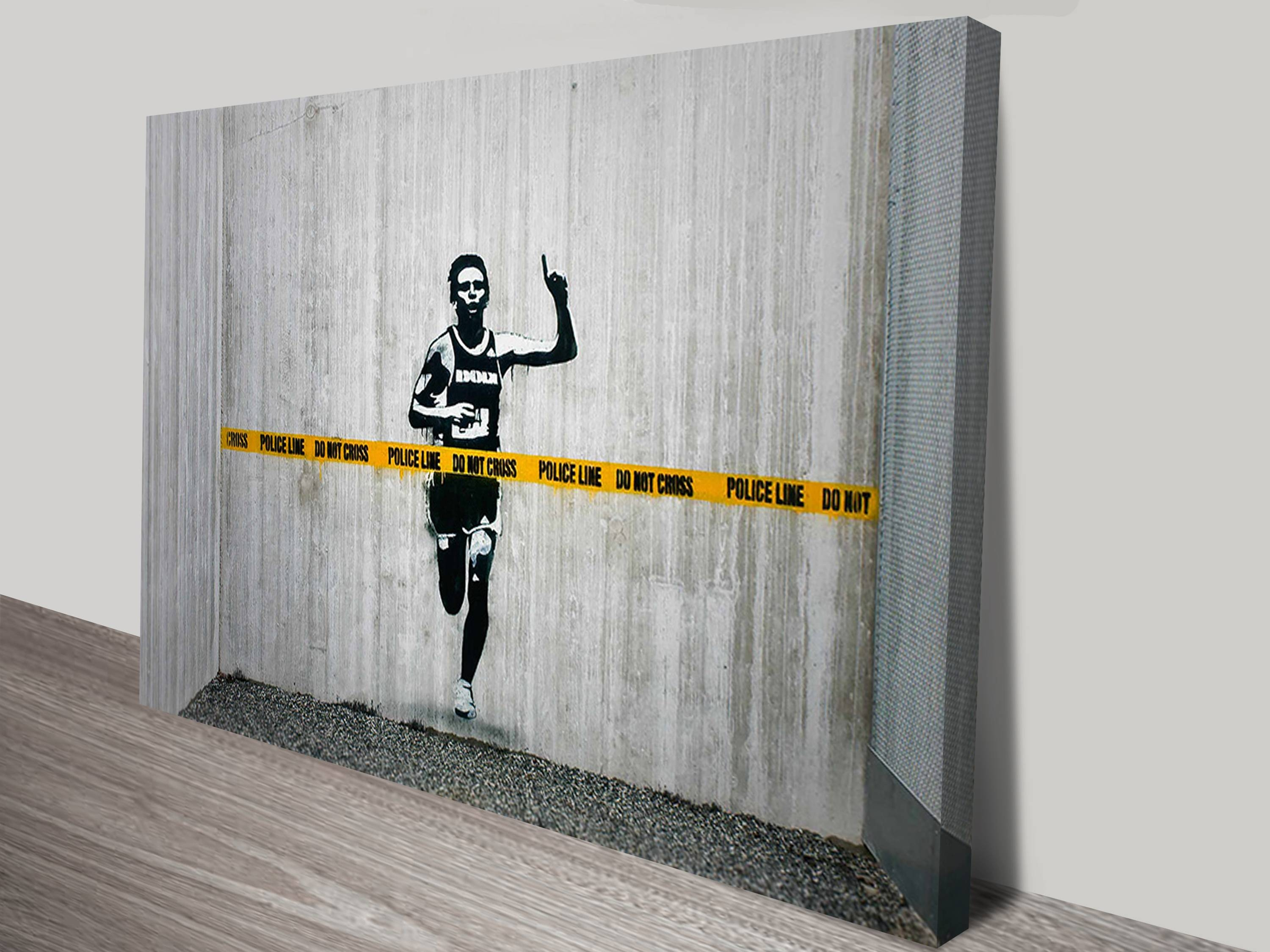 Police Line Canvas Wall Art Print Pertaining To Most Popular Banksy Wall Art Canvas (View 1 of 20)